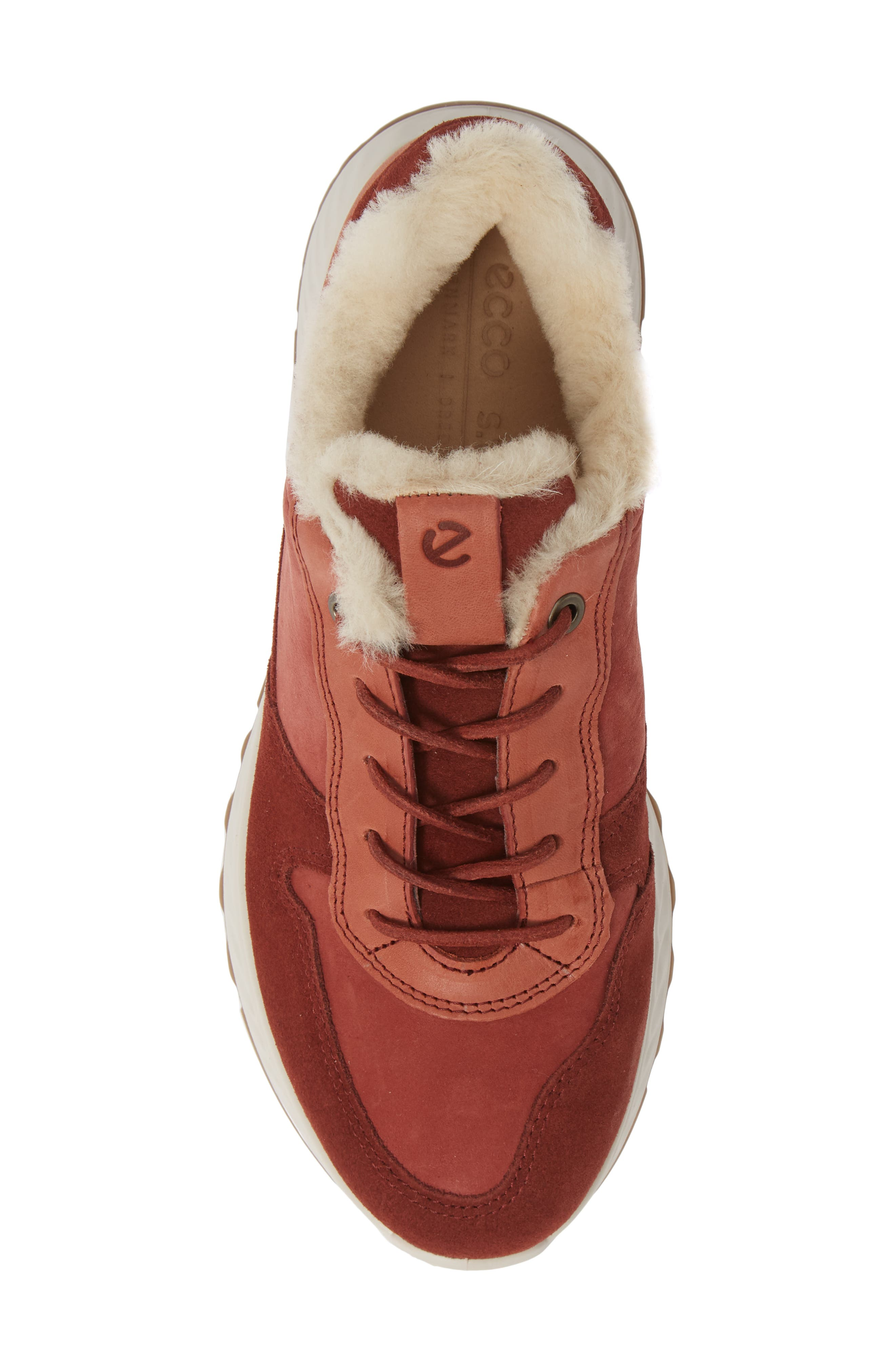 ST1 Genuine Shearling Sneaker,                             Alternate thumbnail 5, color,                             FIRED BRICK NUBUCK LEATHER