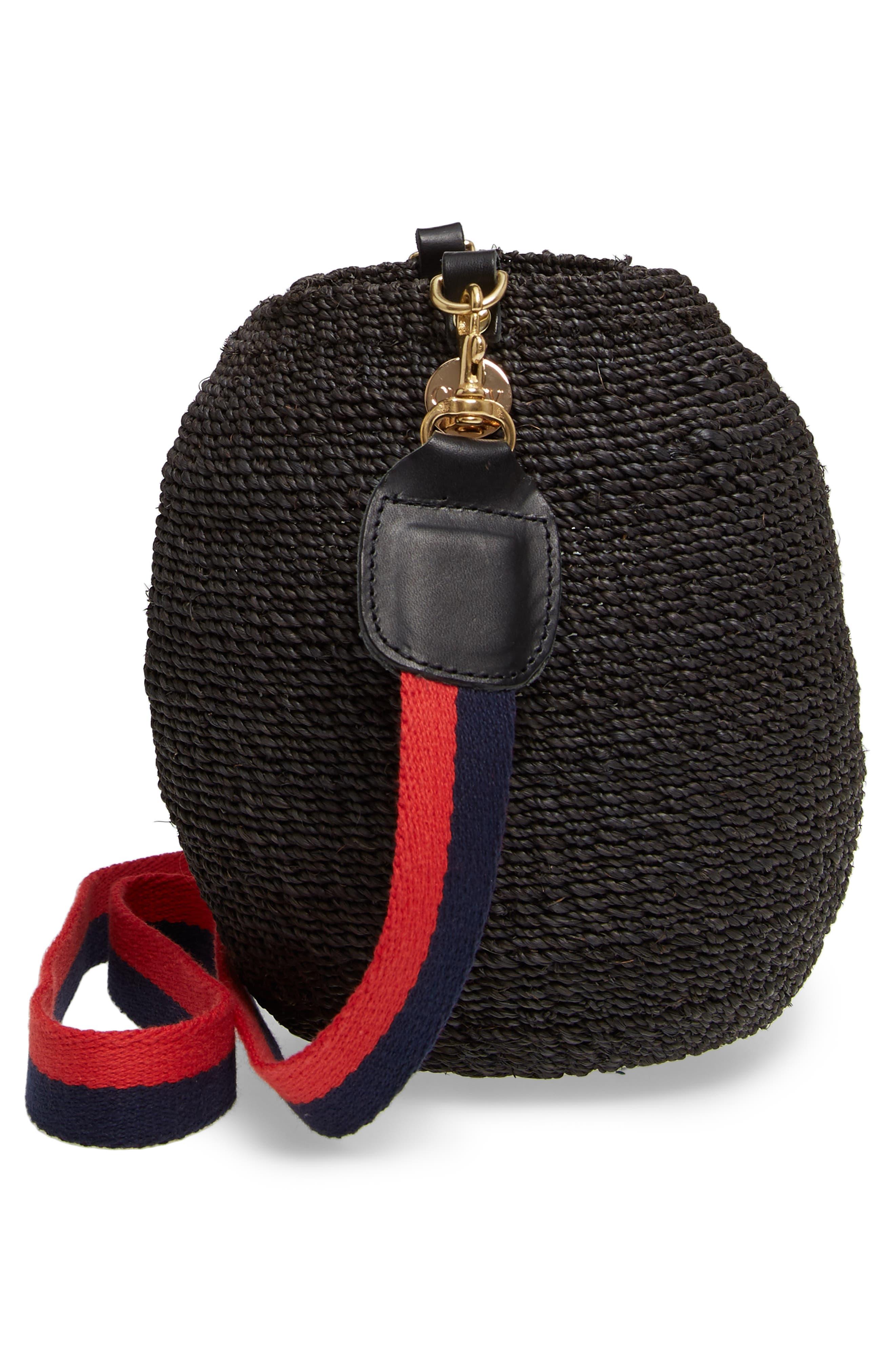 Pot de Miel Top Handle Straw Basket Bag,                             Alternate thumbnail 6, color,                             001