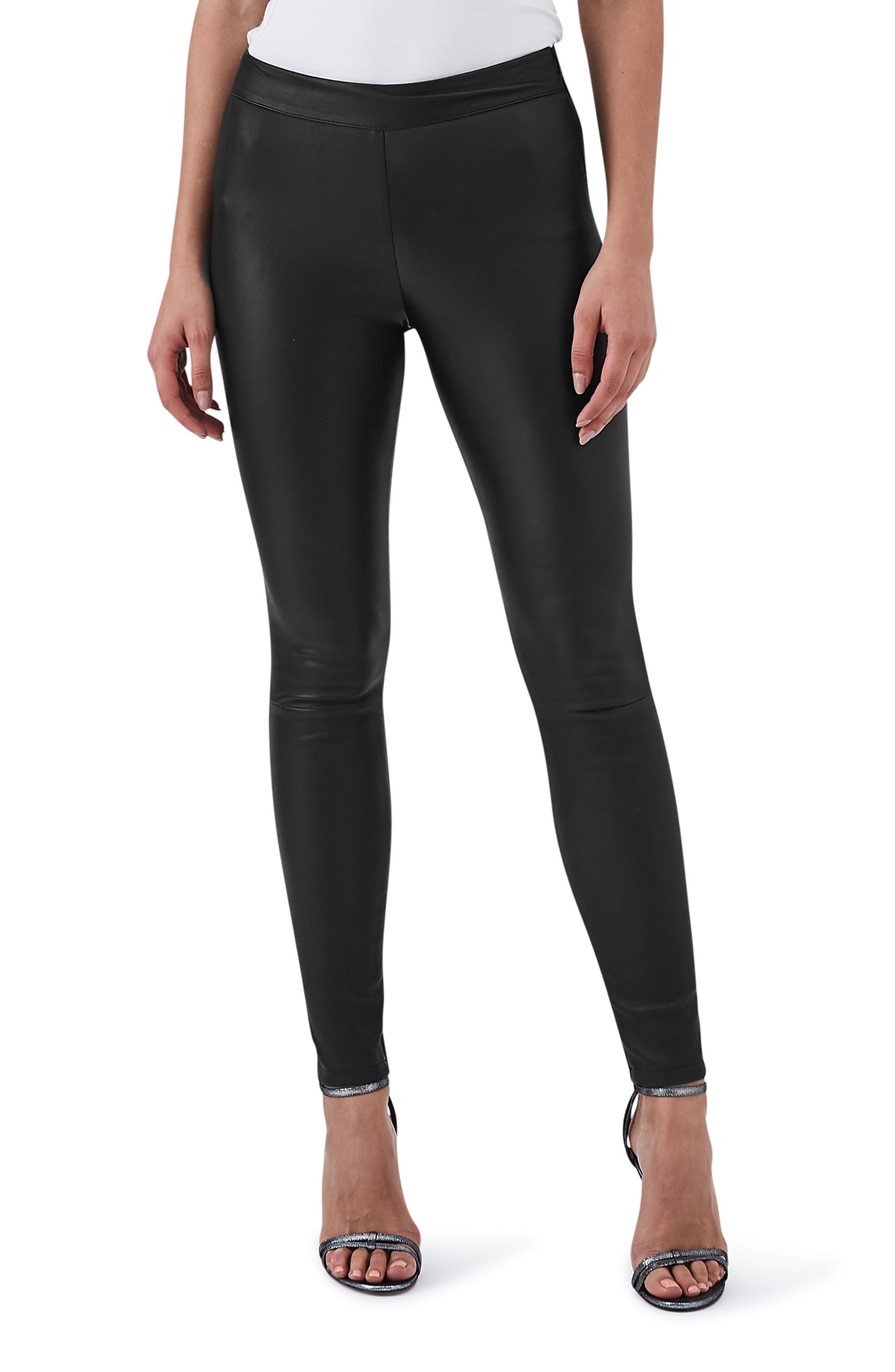 Valerie Mix Media Leather Leggings,                         Main,                         color, BLACK