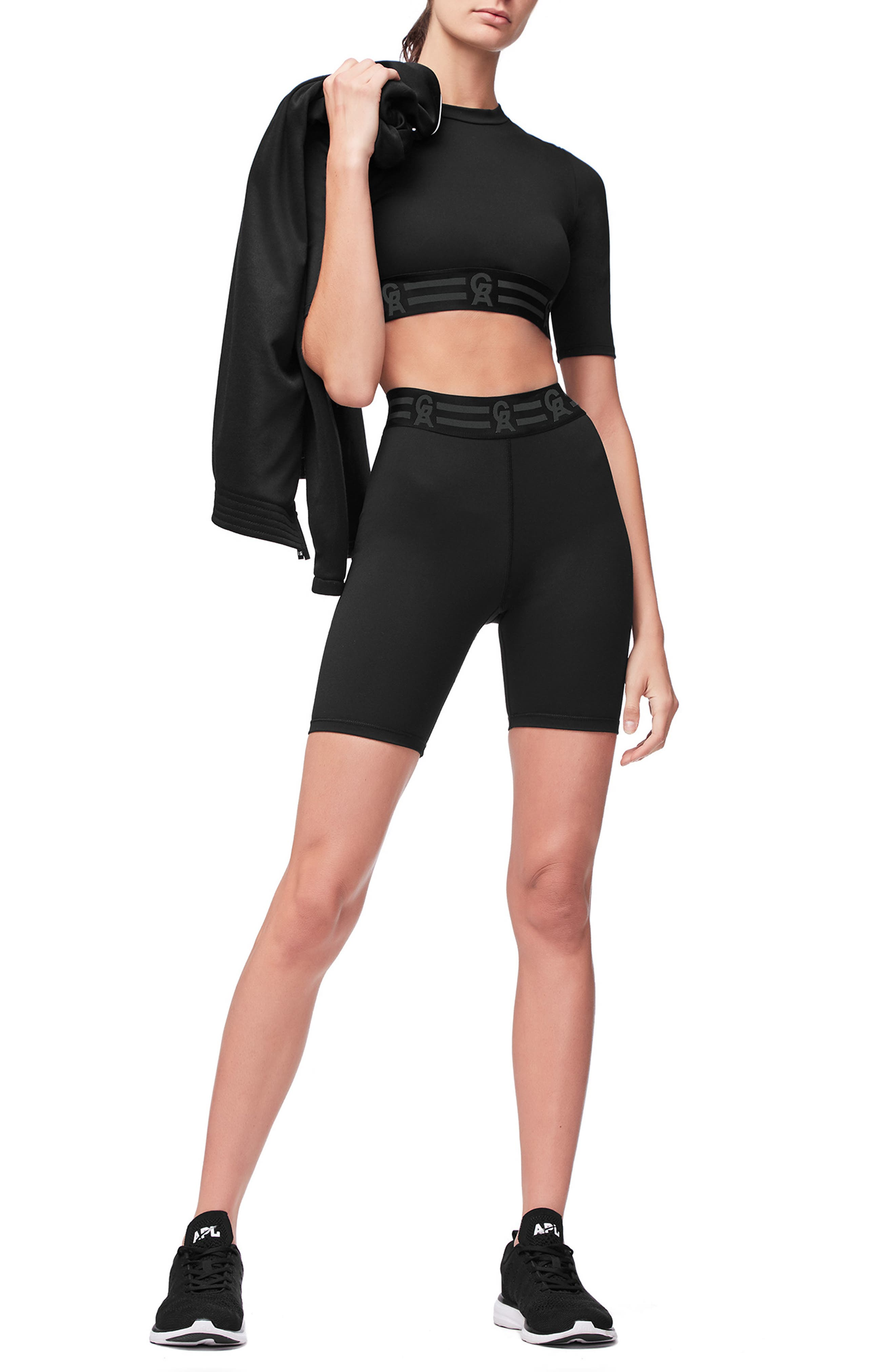 Icon High Waist Biker Shorts,                             Alternate thumbnail 8, color,                             BLACK001