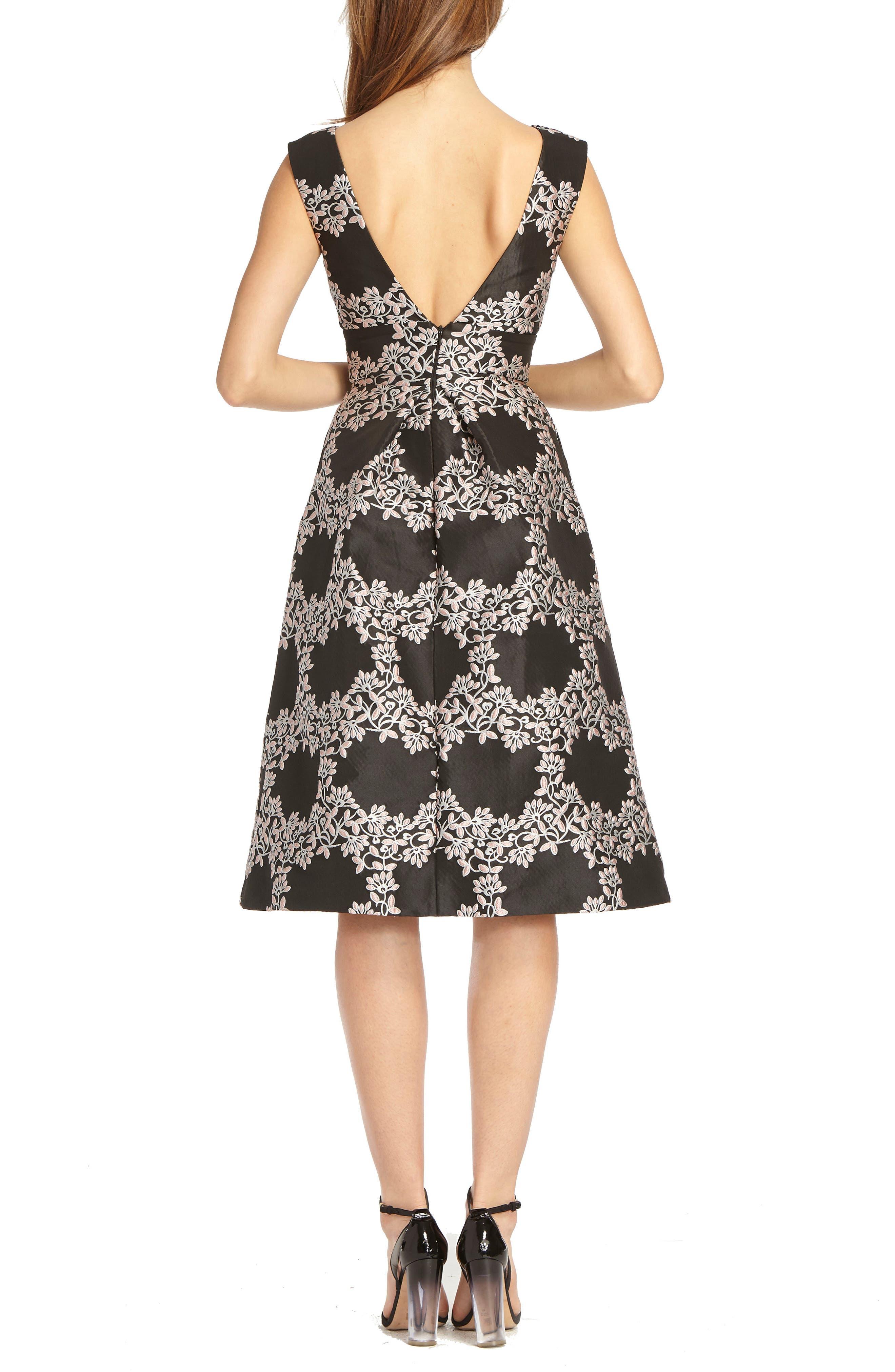 Jacquard Fit & Flare Cocktail Dress,                             Alternate thumbnail 2, color,                             BLACK ROSE