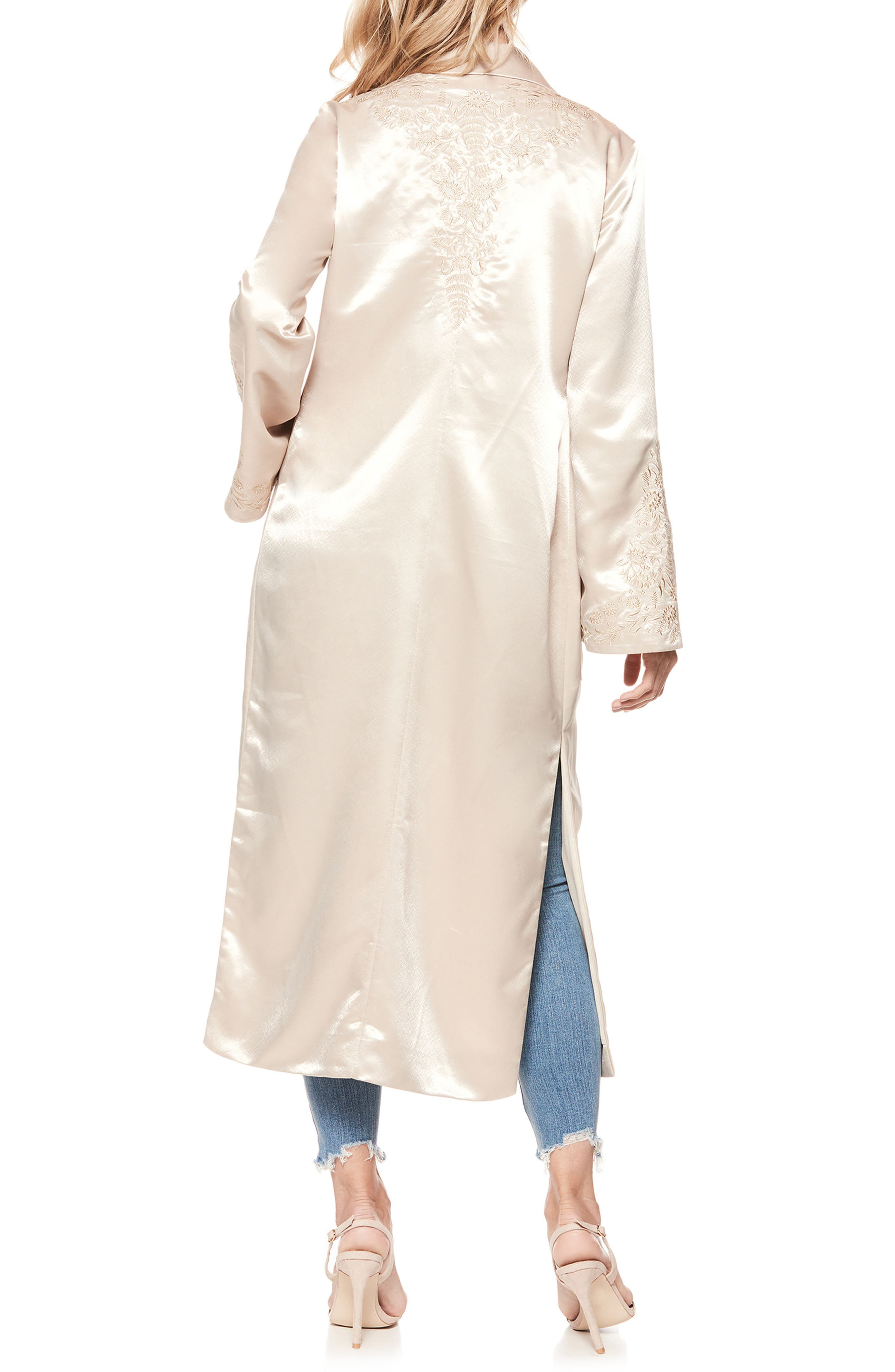 Maryella Embroidered Satin Duster,                             Alternate thumbnail 2, color,                             670