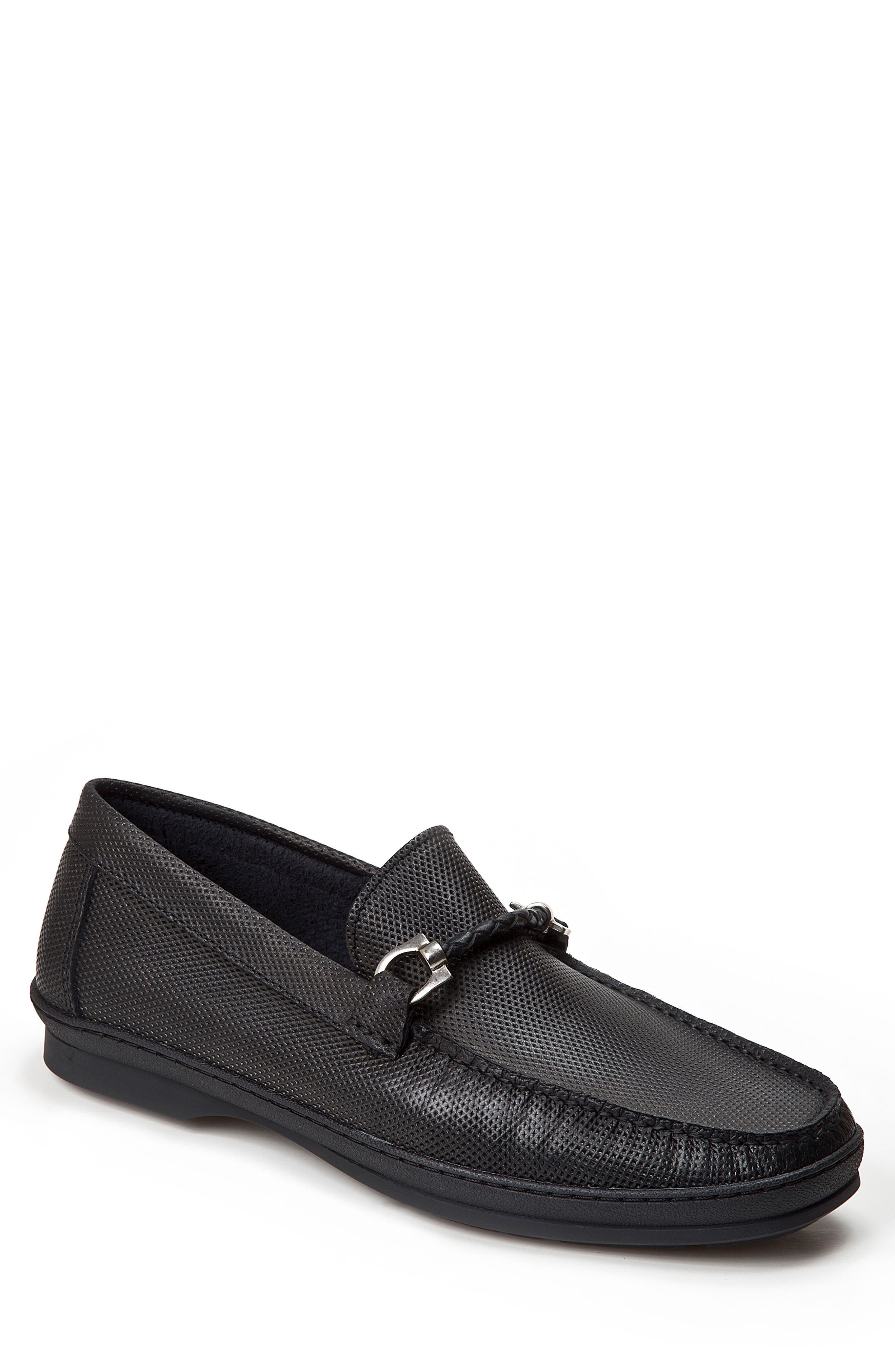 SANDRO MOSCOLONI Benito Perforated Moc Toe Loafer, Main, color, 001