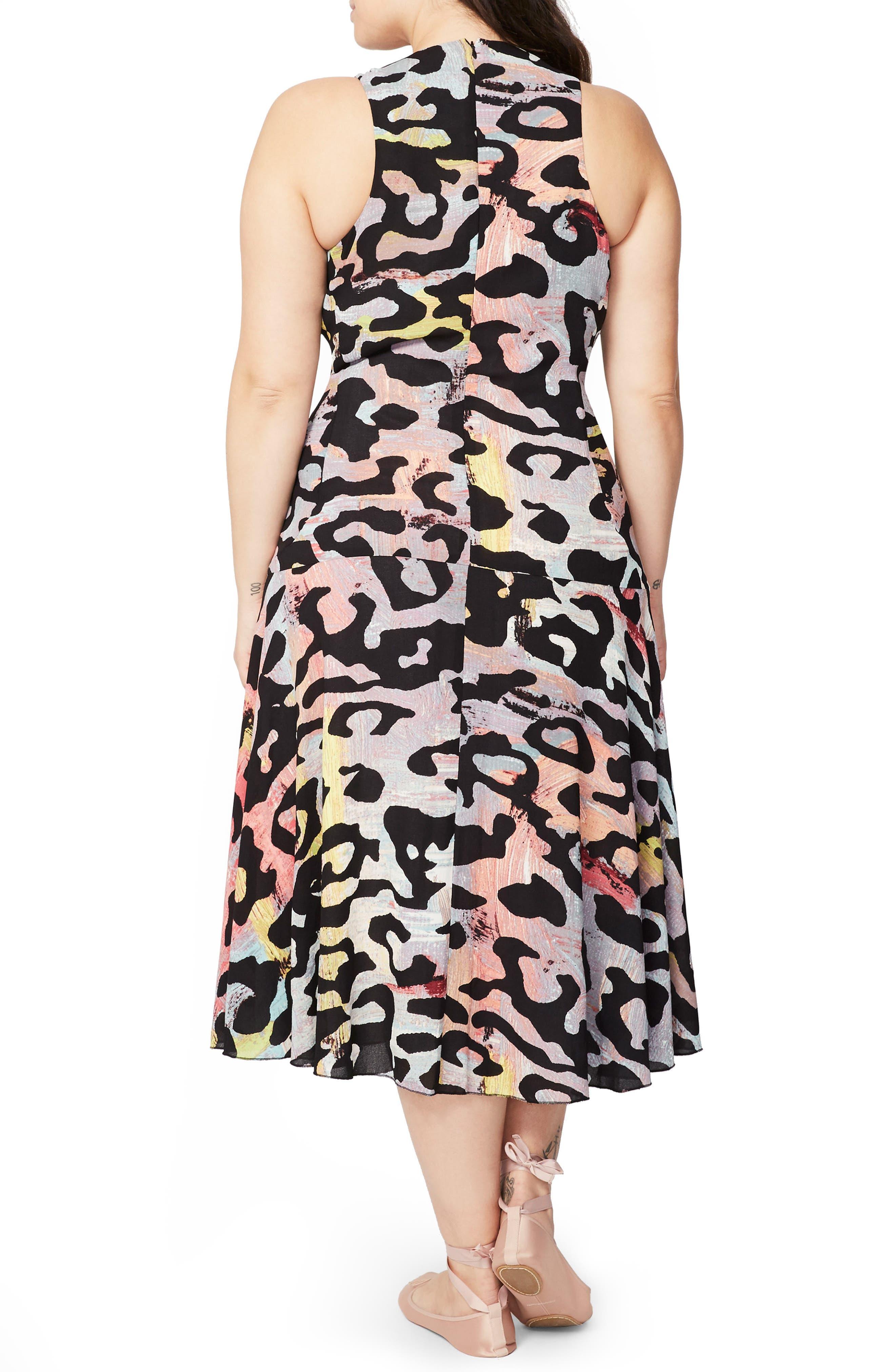 Tie Front Midi Dress,                             Alternate thumbnail 2, color,                             001