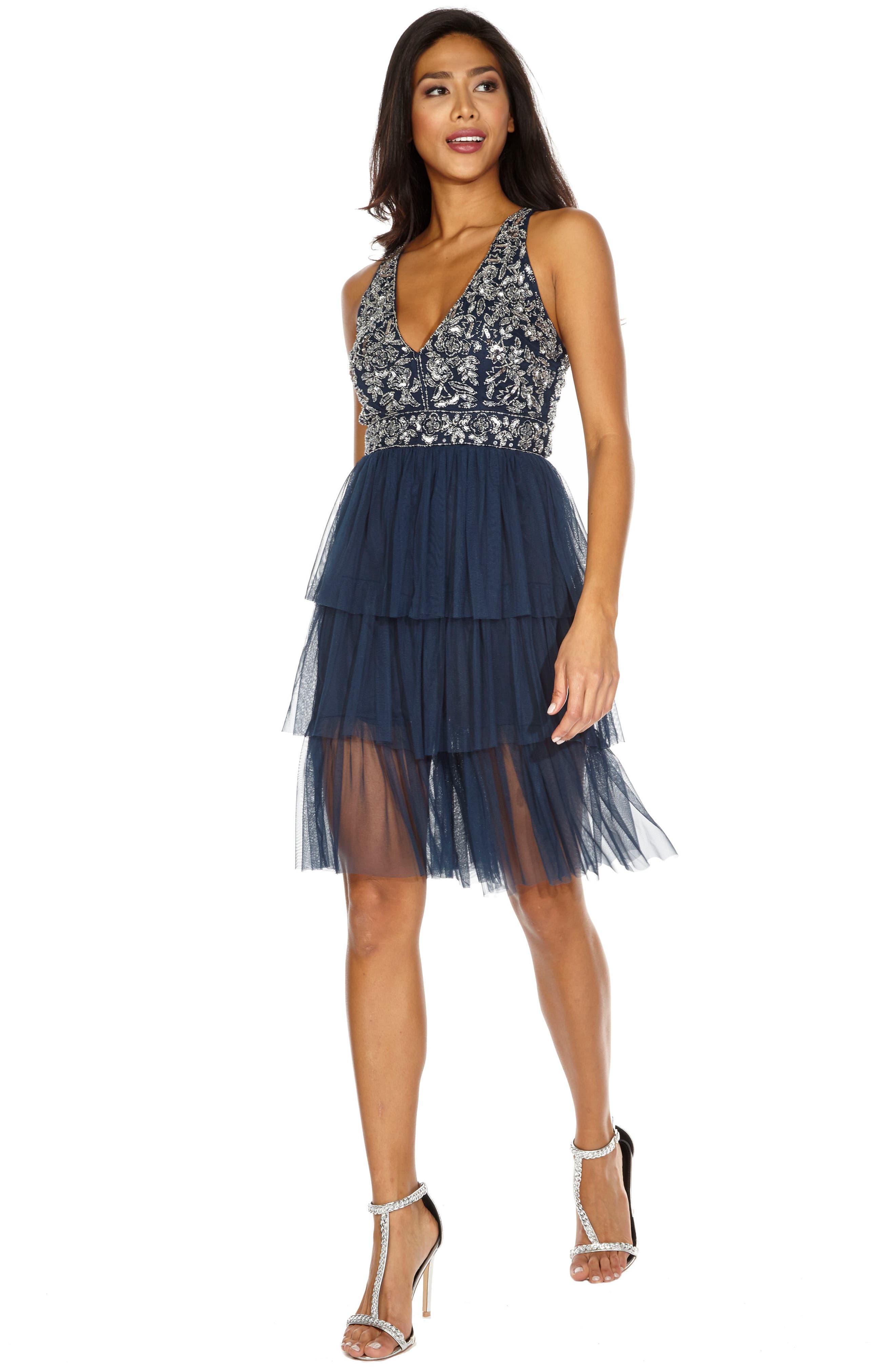 Embellished Tiered Fit & Flare Dress,                             Alternate thumbnail 5, color,                             410