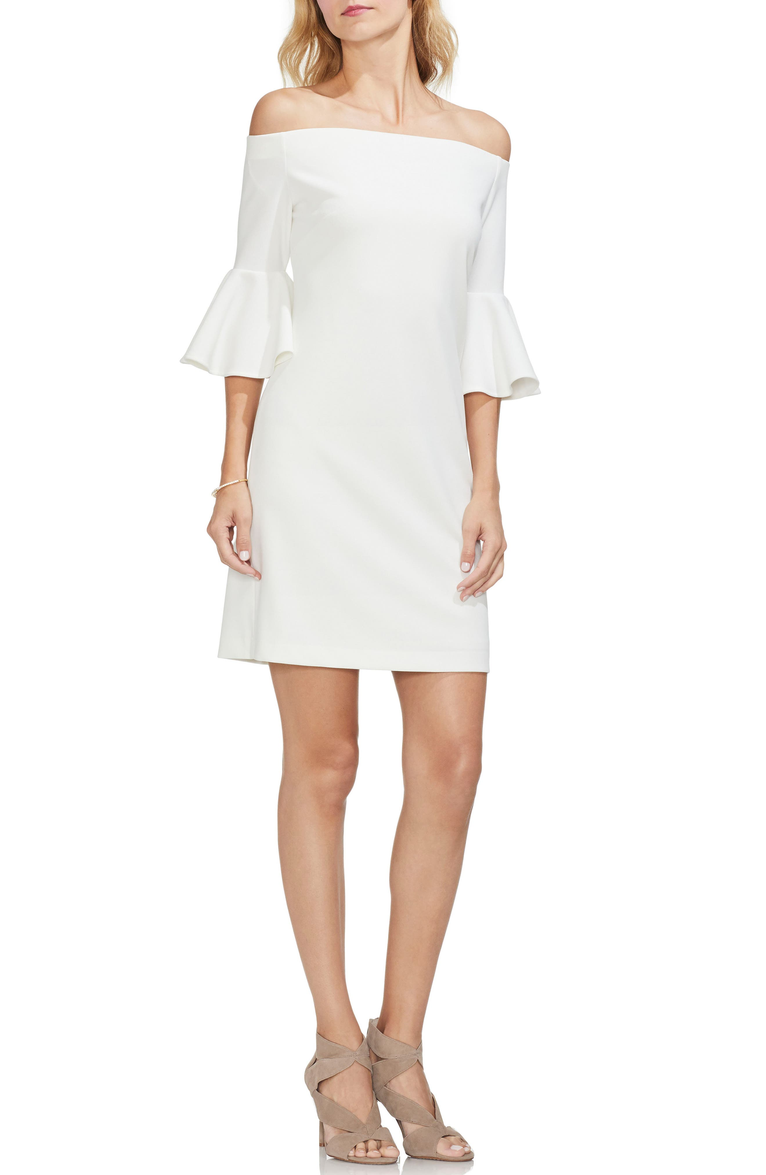 Vince Camuto Off The Shoulder Bell Sleeve Ponte Dress, Ivory