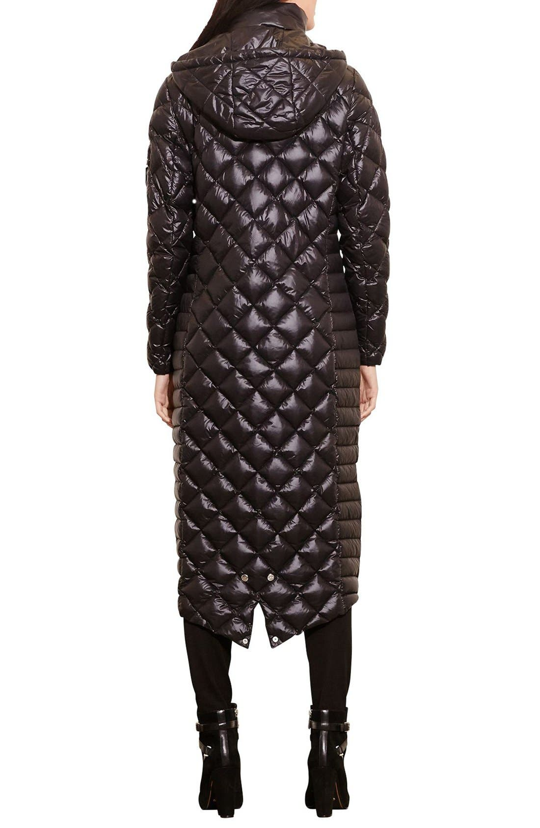 Packable Quilted Down Coat,                             Alternate thumbnail 2, color,                             BLACK