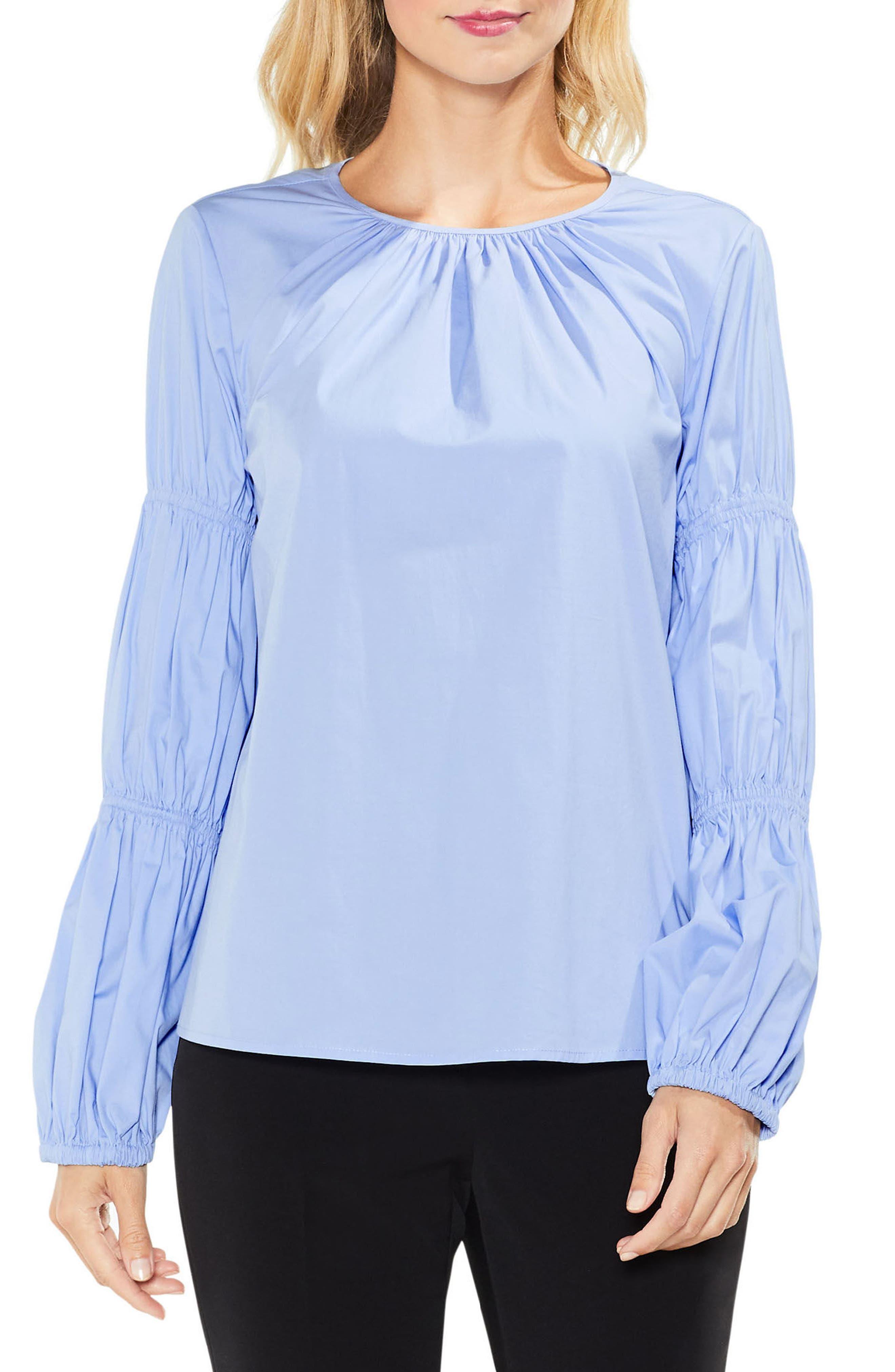 Smocked Poplin Shirt,                             Main thumbnail 2, color,