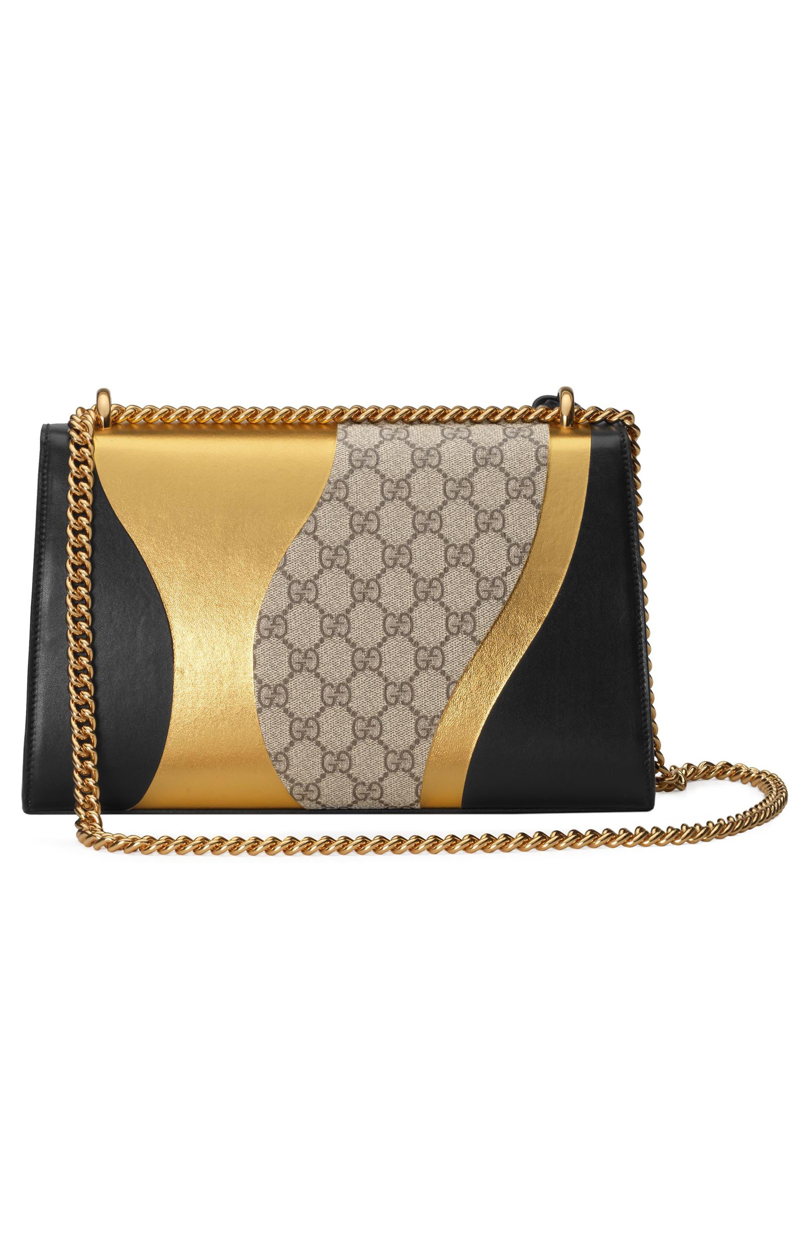 Medium Padlock GG Supreme Canvas & Leather Shoulder Bag,                             Alternate thumbnail 2, color,                             NERO/ORO VECCHIO
