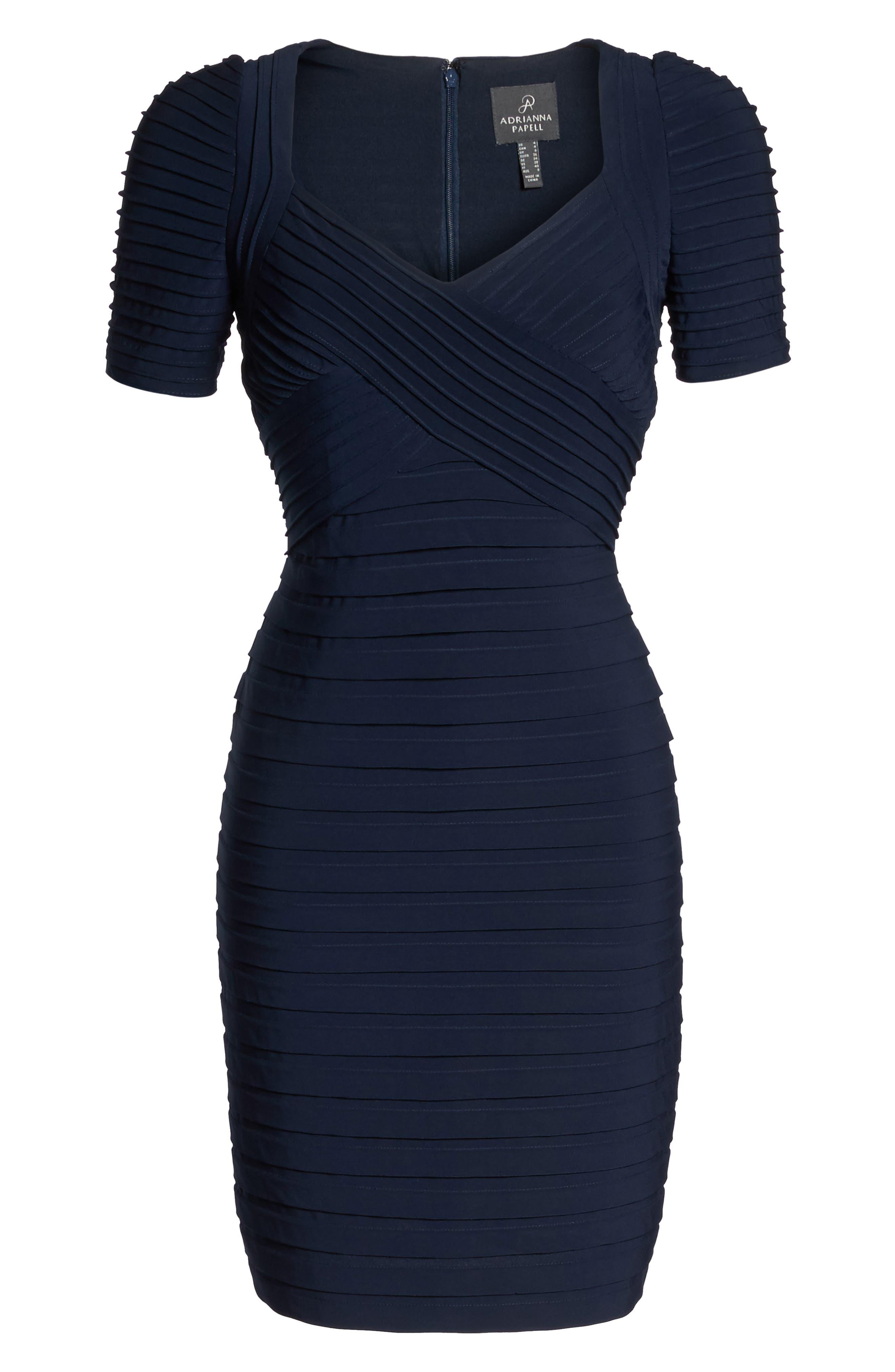 Pleat Sheath Dress,                             Alternate thumbnail 6, color,