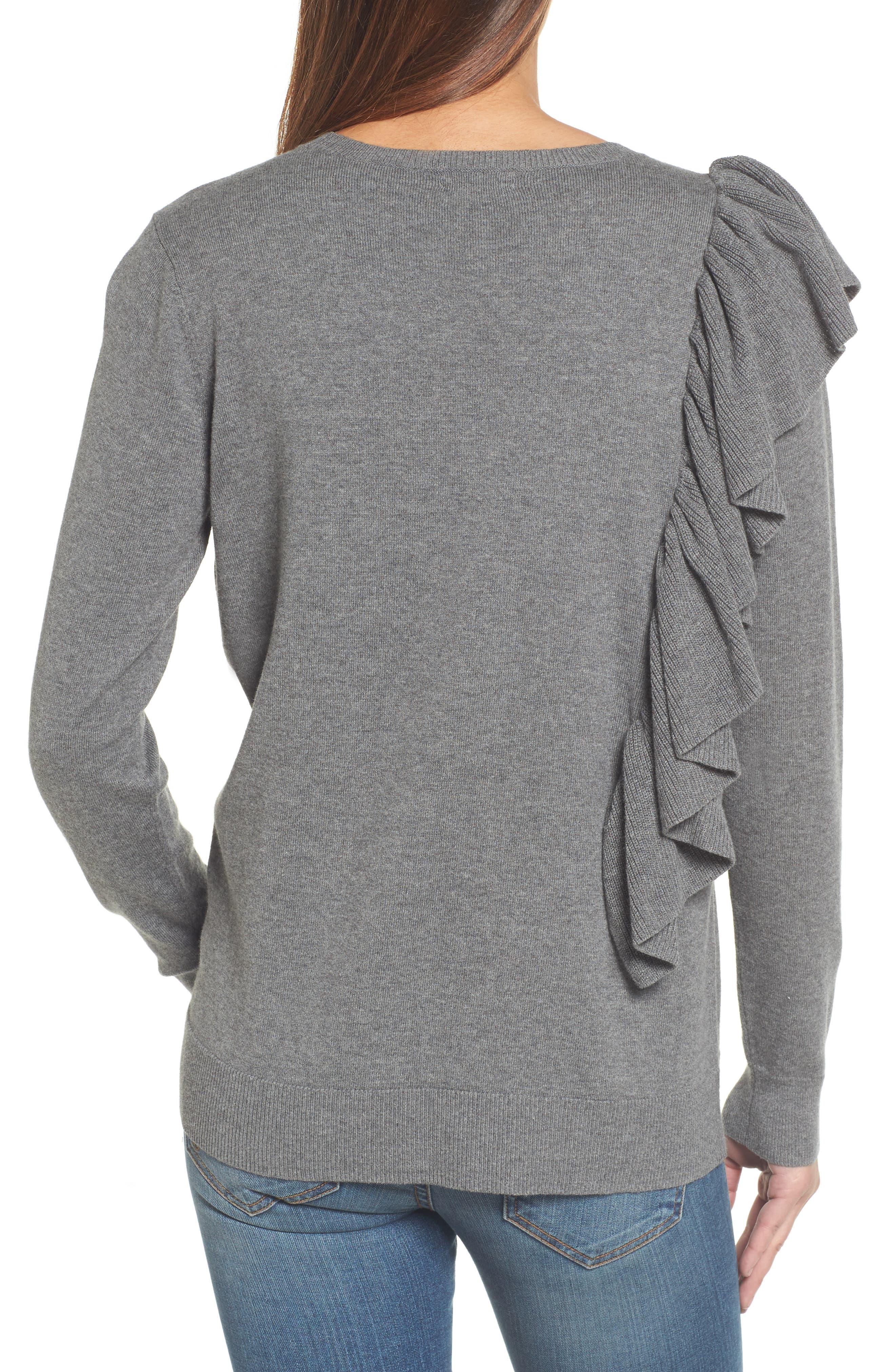 Asymmetrical Ruffle Sweater,                             Alternate thumbnail 2, color,                             030