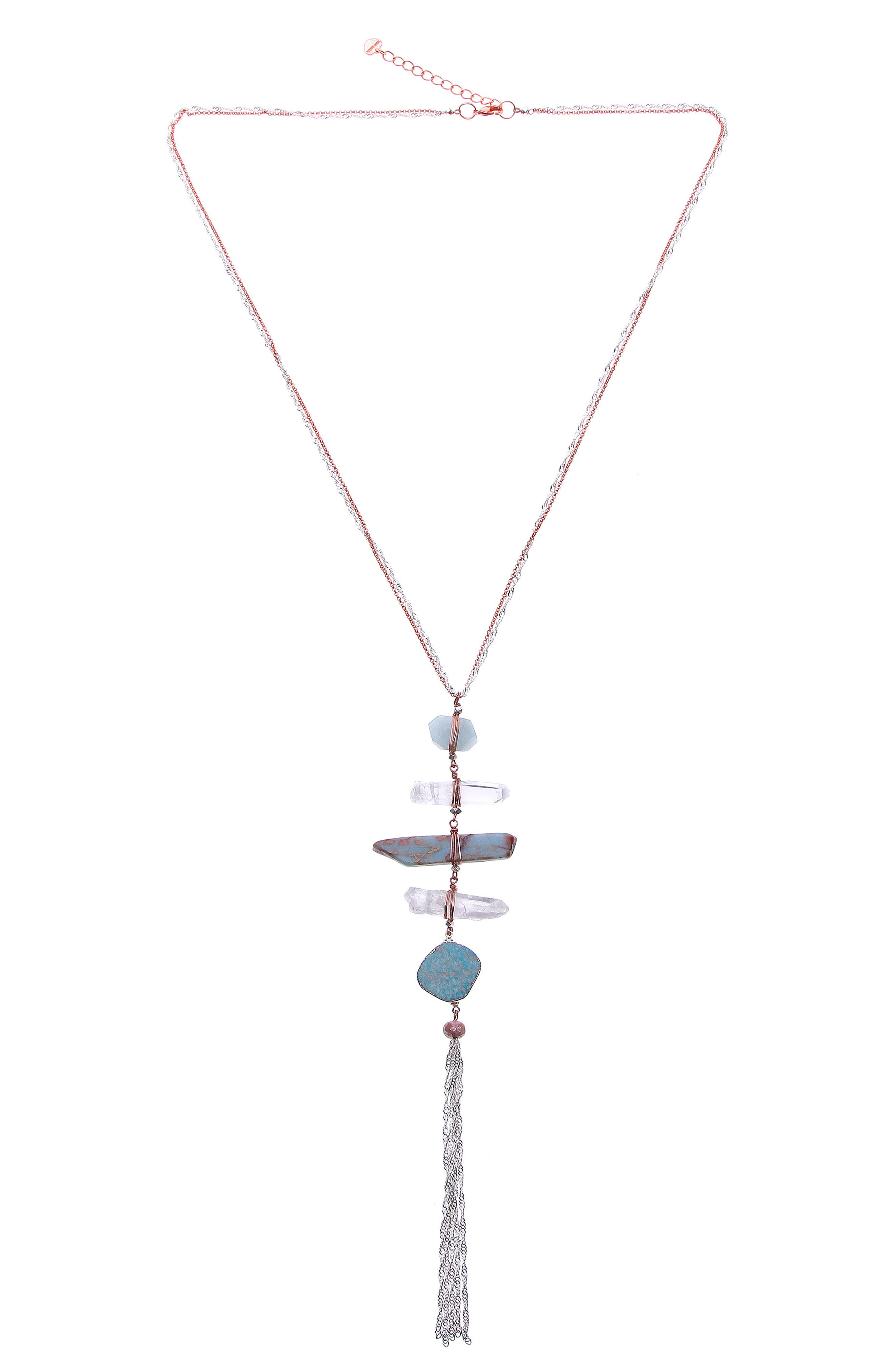 Raw Amazonite & Crystal Y-Necklace,                             Main thumbnail 1, color,