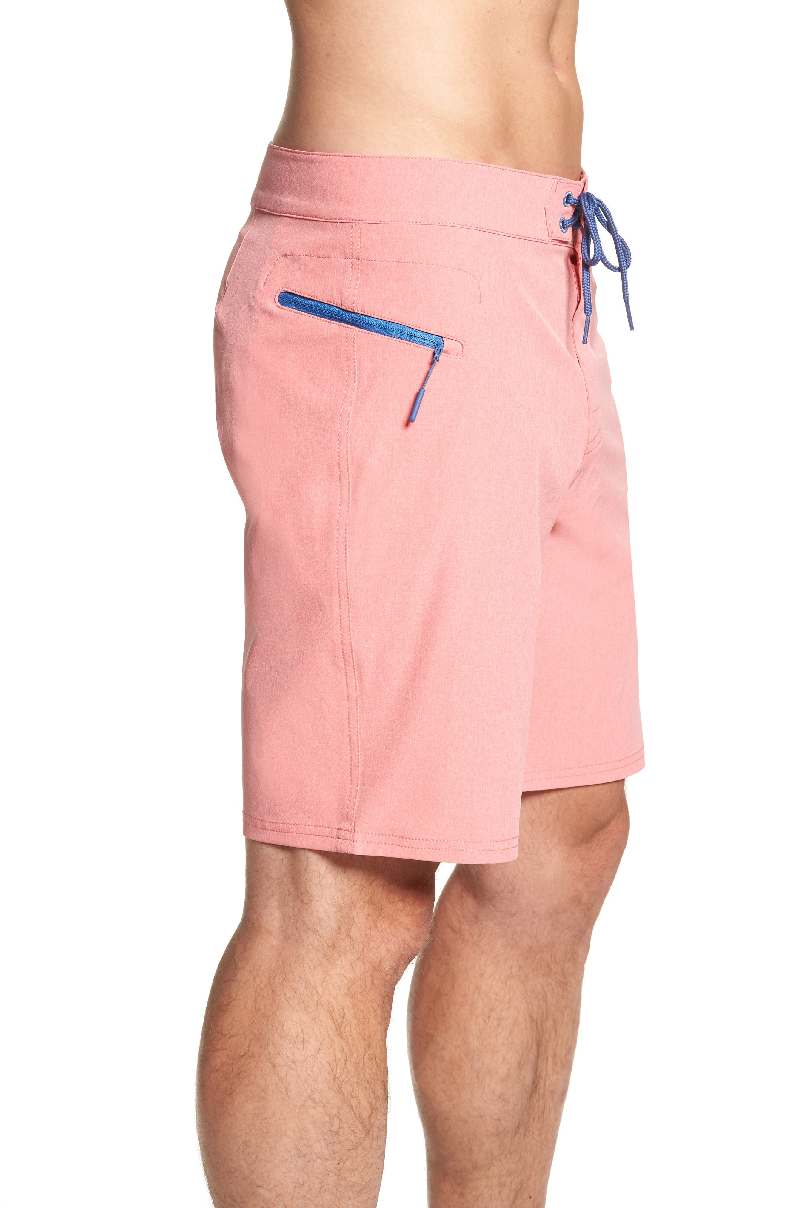 Heather Stretch Board Shorts,                             Alternate thumbnail 3, color,                             LOBSTER REEF