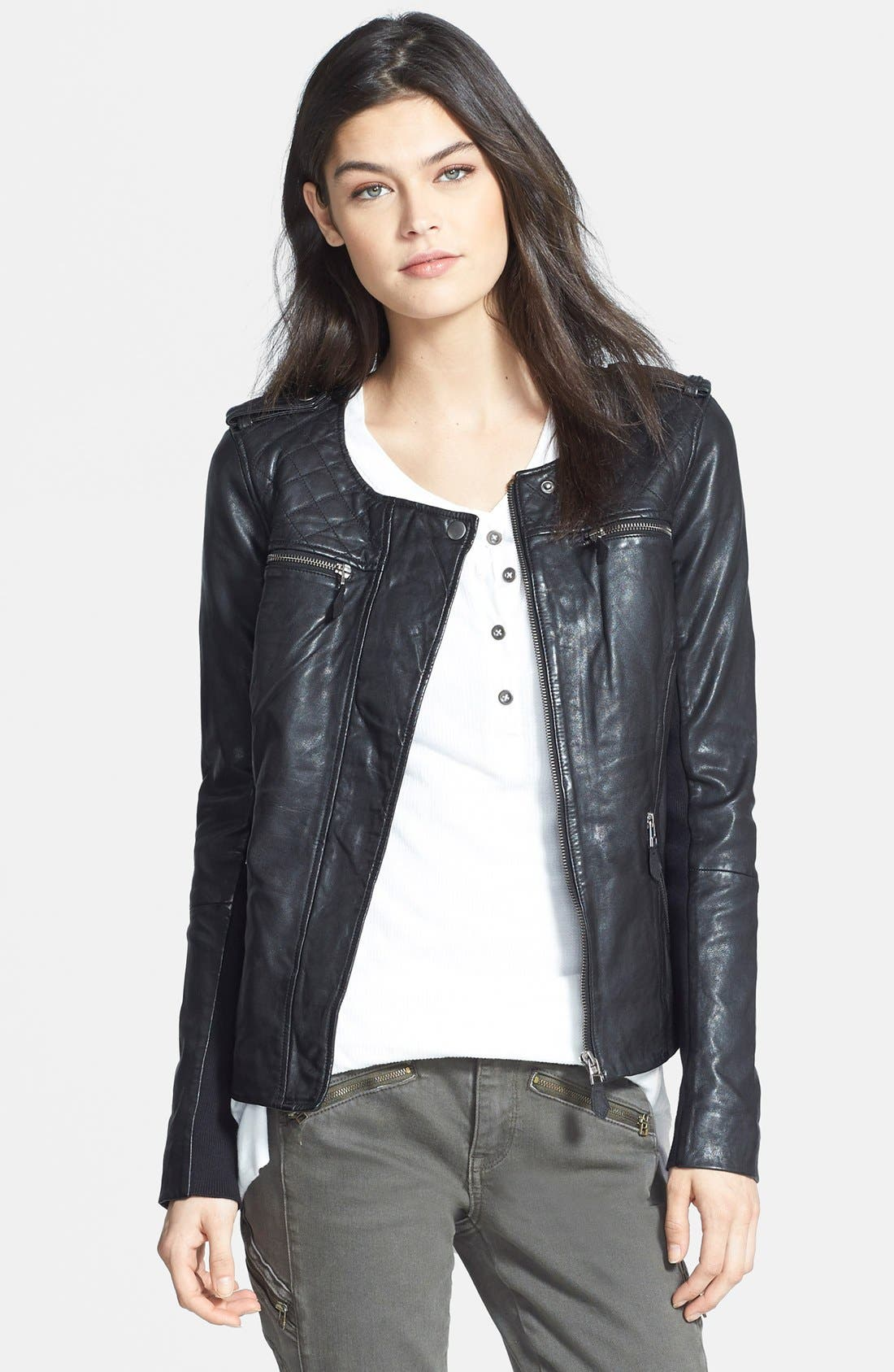 Quilted Leather Jacket,                         Main,                         color, 002