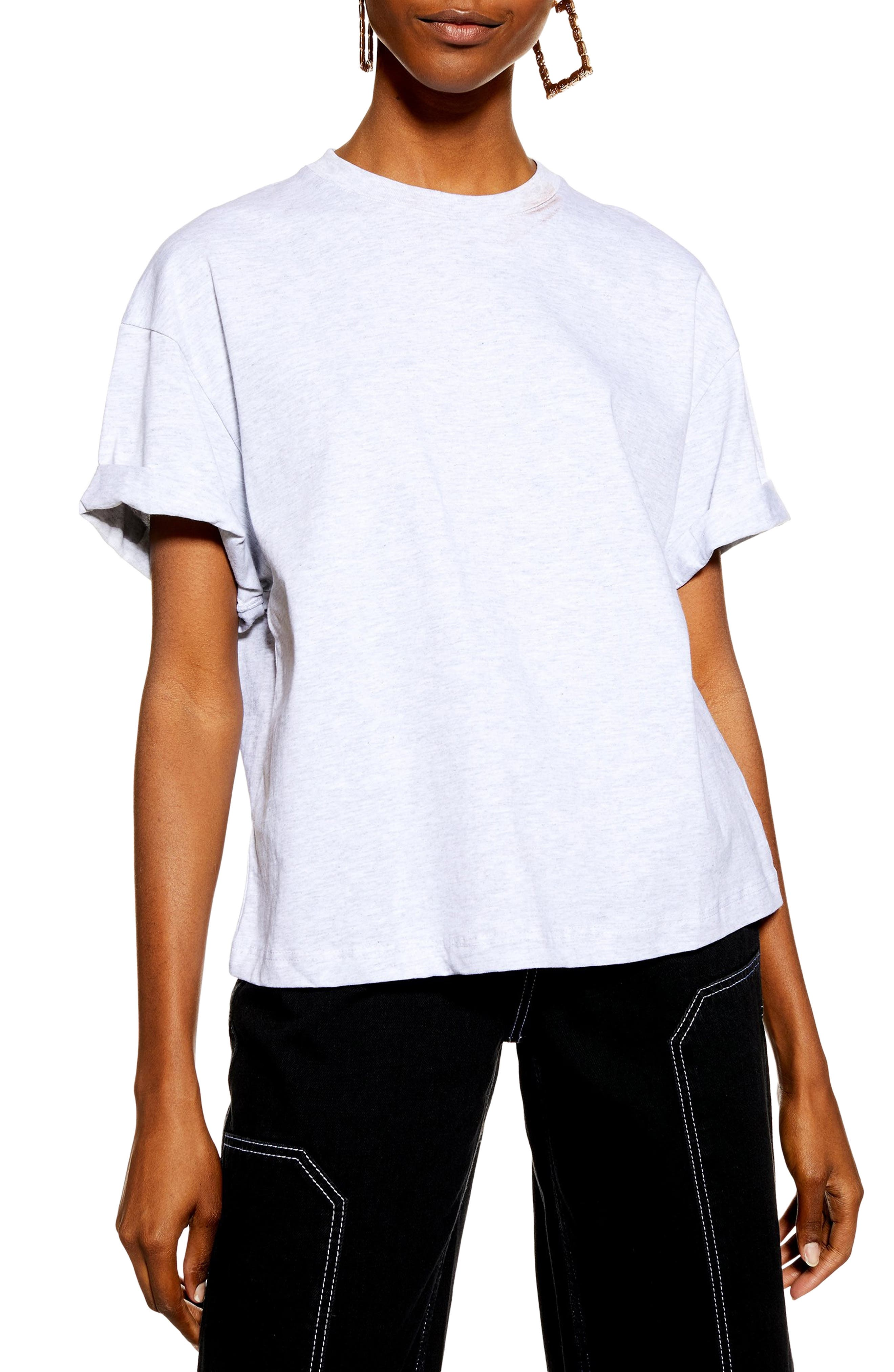 TOPSHOP Boxy Roll Tee, Main, color, GREY