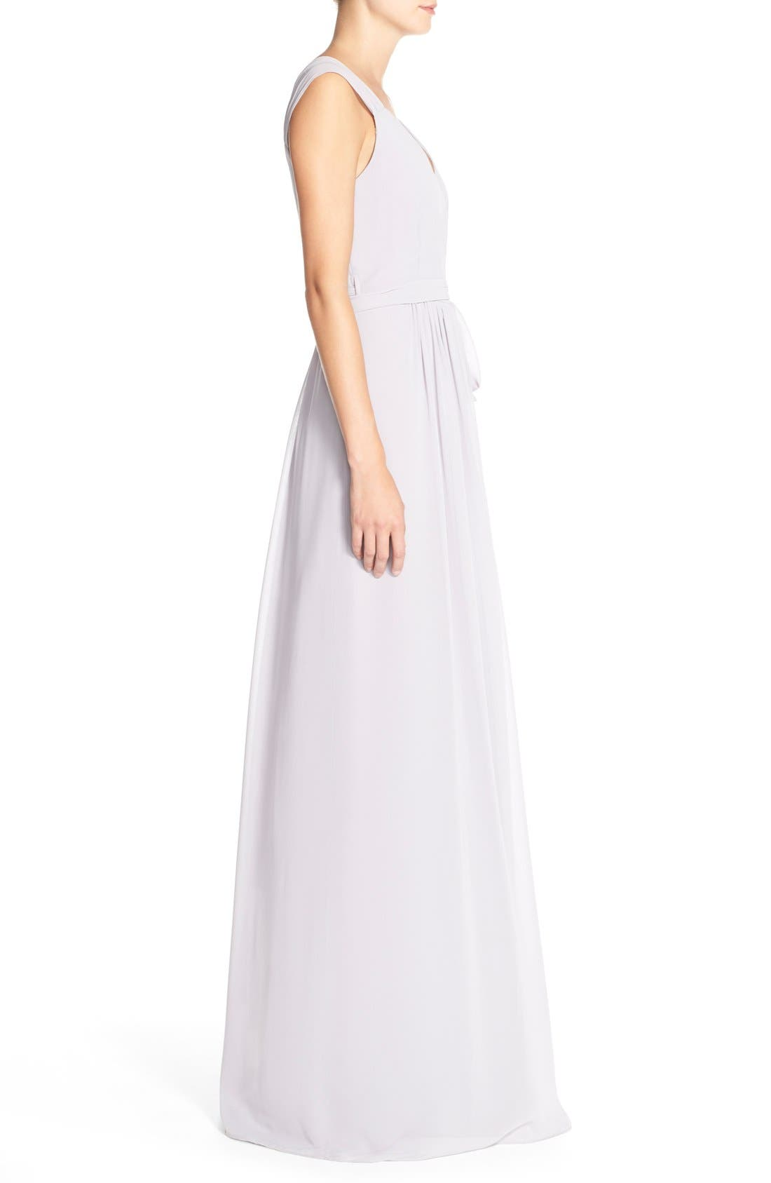 Newbury Gathered Sleeve Chiffon Wrap Gown,                             Alternate thumbnail 13, color,
