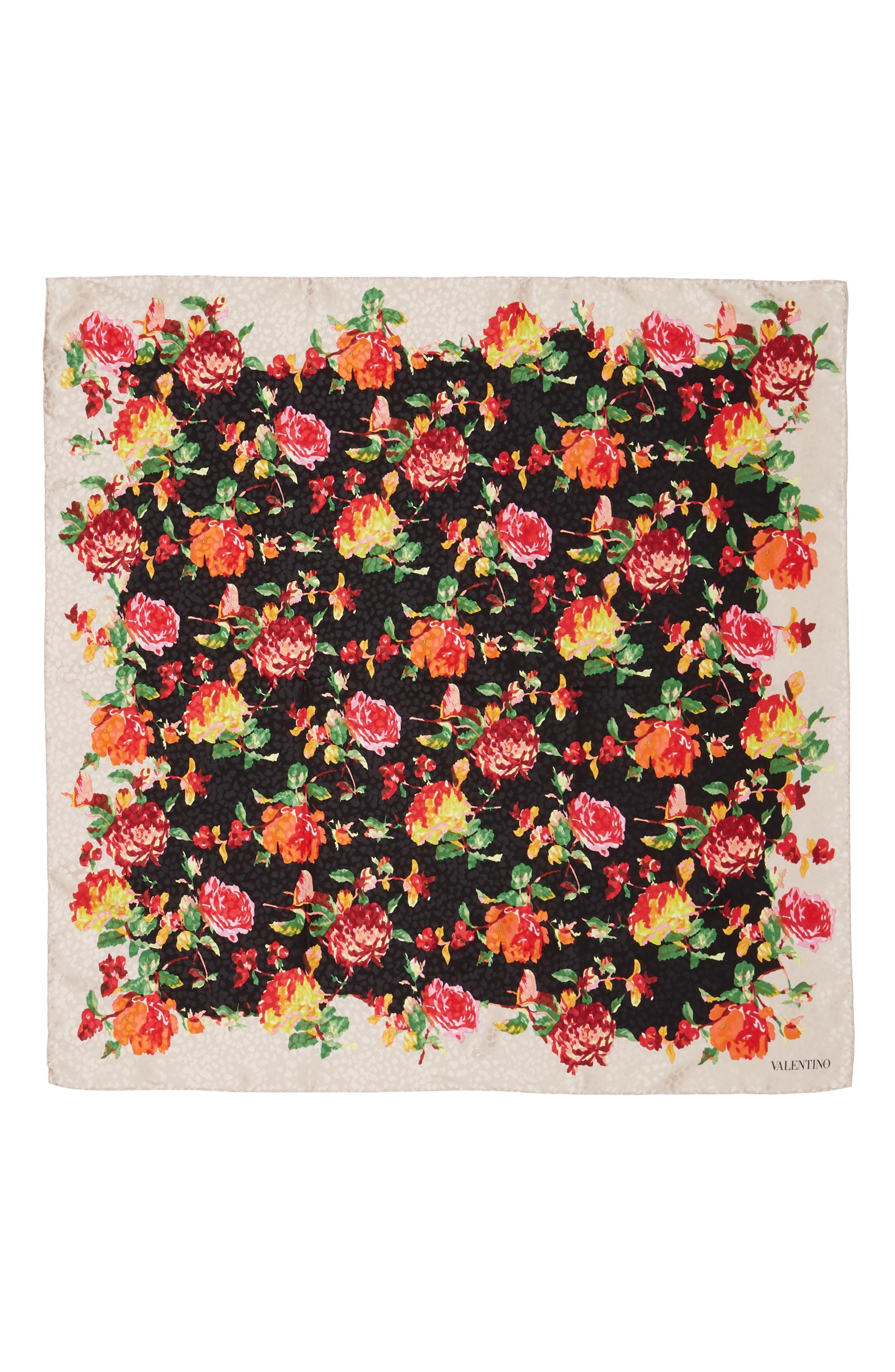 Rose Bud Silk Foulard Scarf,                             Main thumbnail 1, color,                             001