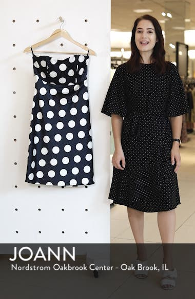 Sayer Dotted Tie Back Strapless Dress, sales video thumbnail