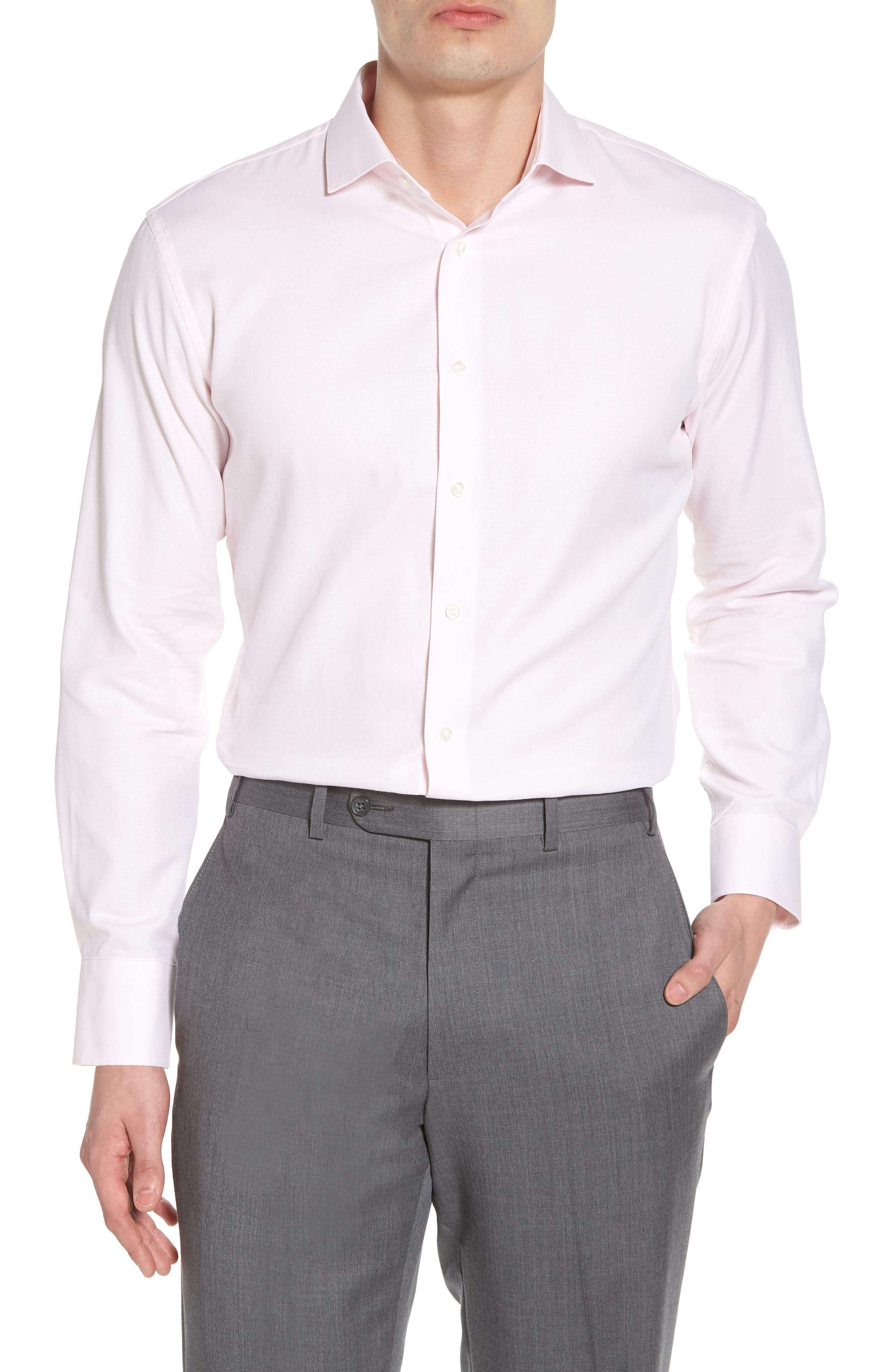 Trim Fit Solid Dress Shirt,                             Main thumbnail 5, color,