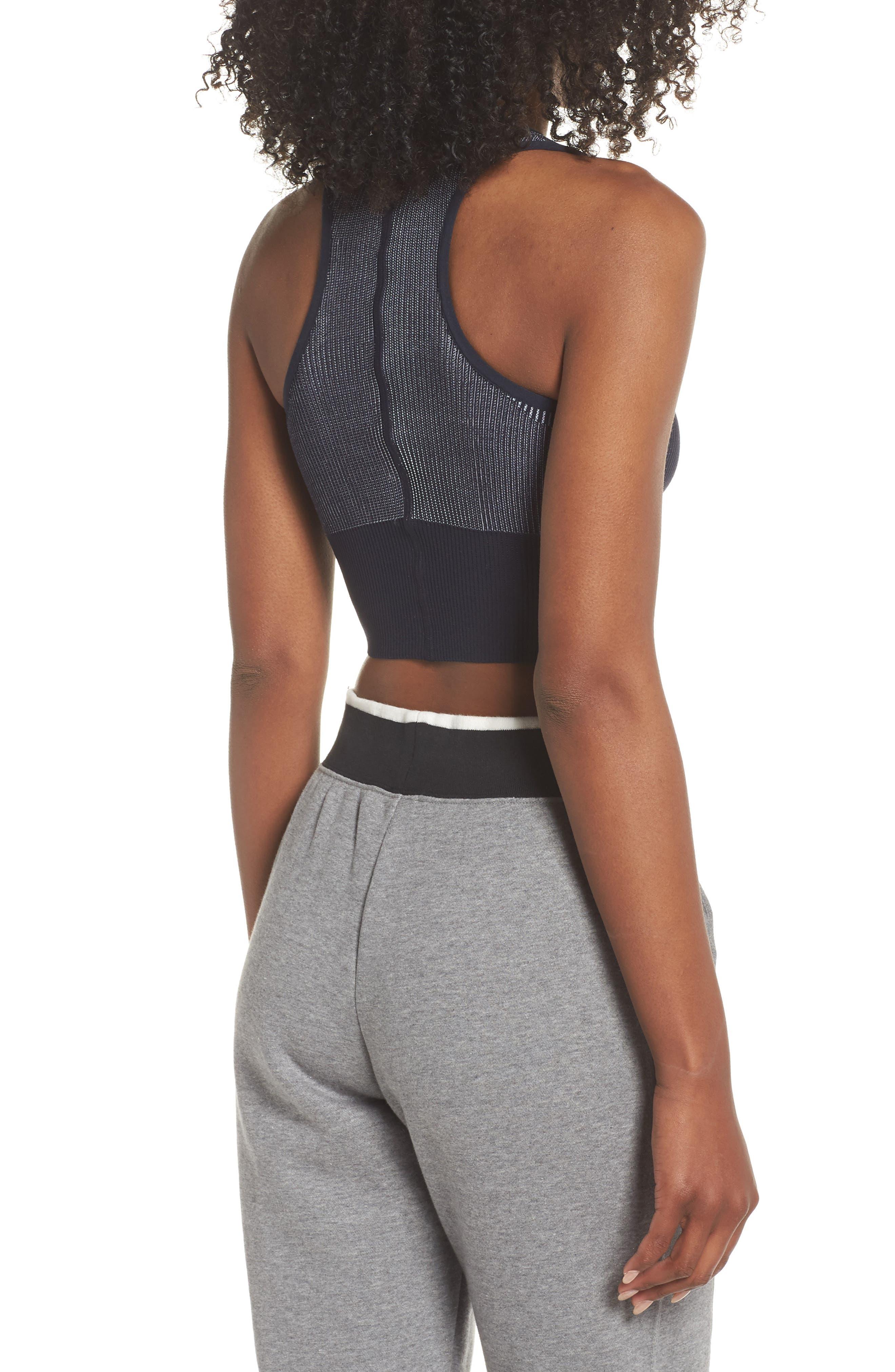 Sportswear Women's Tech Knit Crop Tank,                             Alternate thumbnail 4, color,                             DARK OBSIDIAN/ WHITE