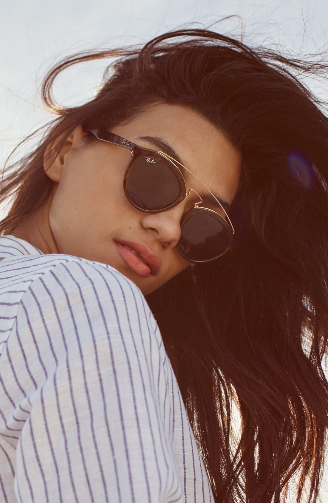 Highstreet 50mm Brow Bar Sunglasses,                         Main,                         color,