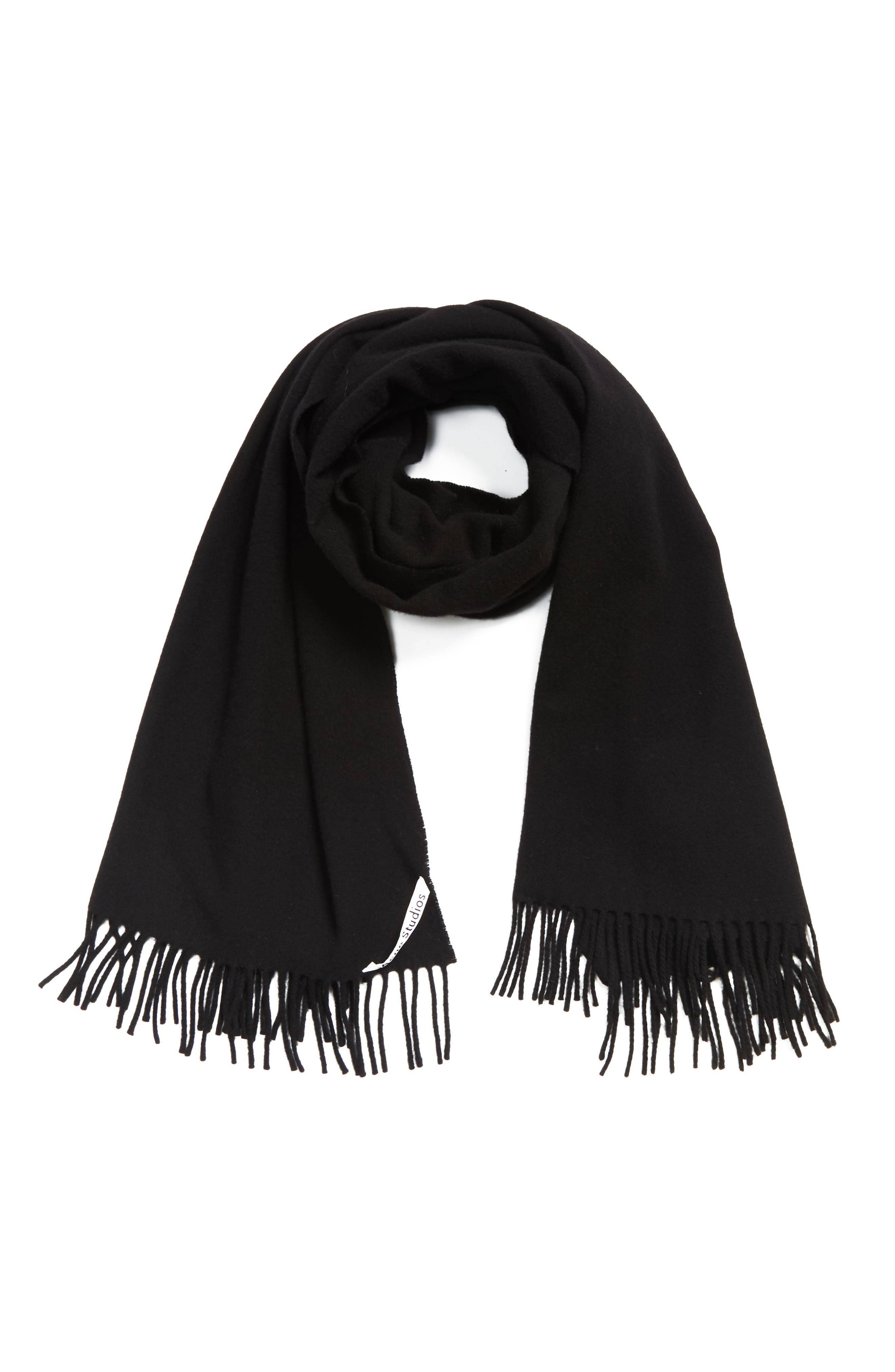 Fringed Wool Scarf,                             Alternate thumbnail 3, color,                             001
