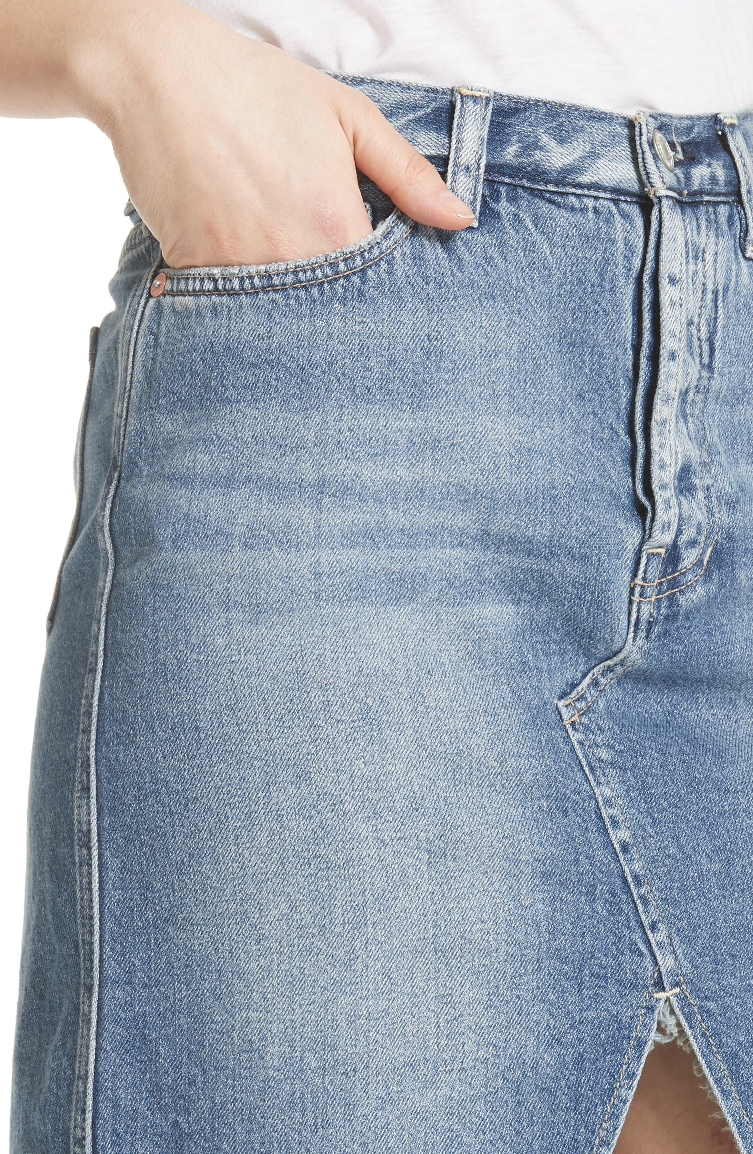 Front Slit Denim Skirt,                             Alternate thumbnail 4, color,                             400