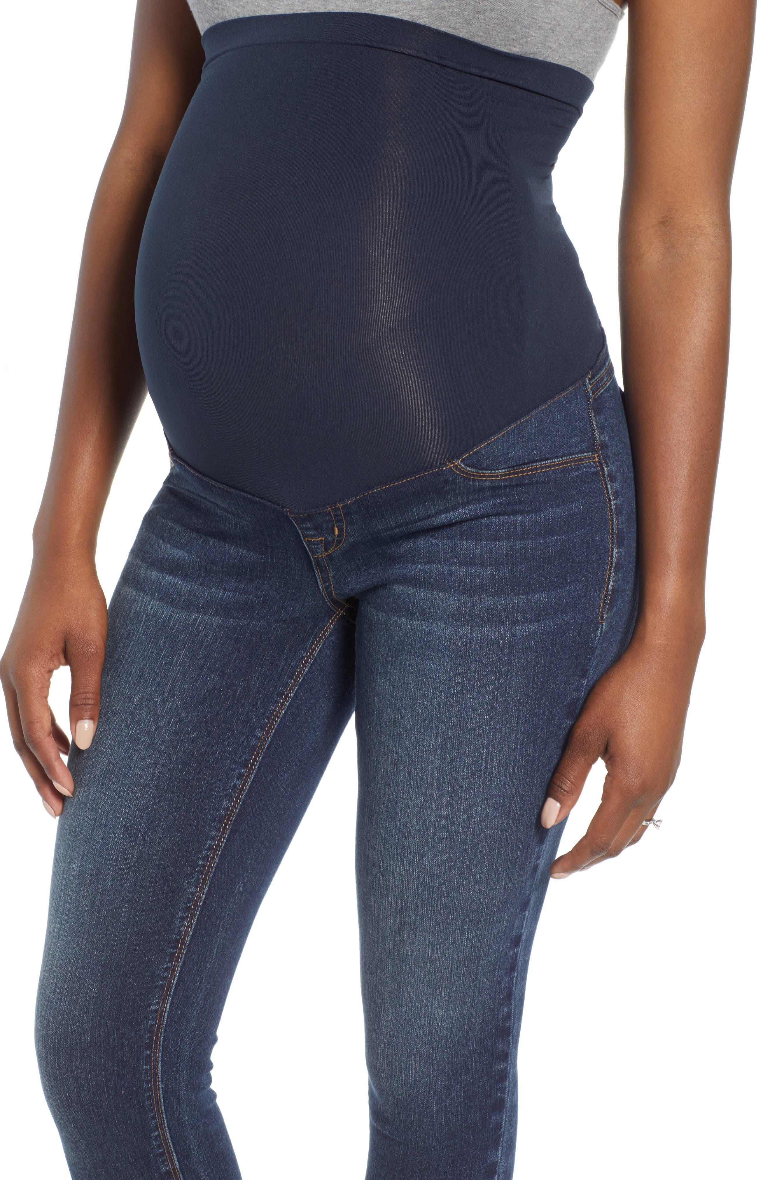Ankle Skinny Maternity Jeans,                             Alternate thumbnail 4, color,                             406