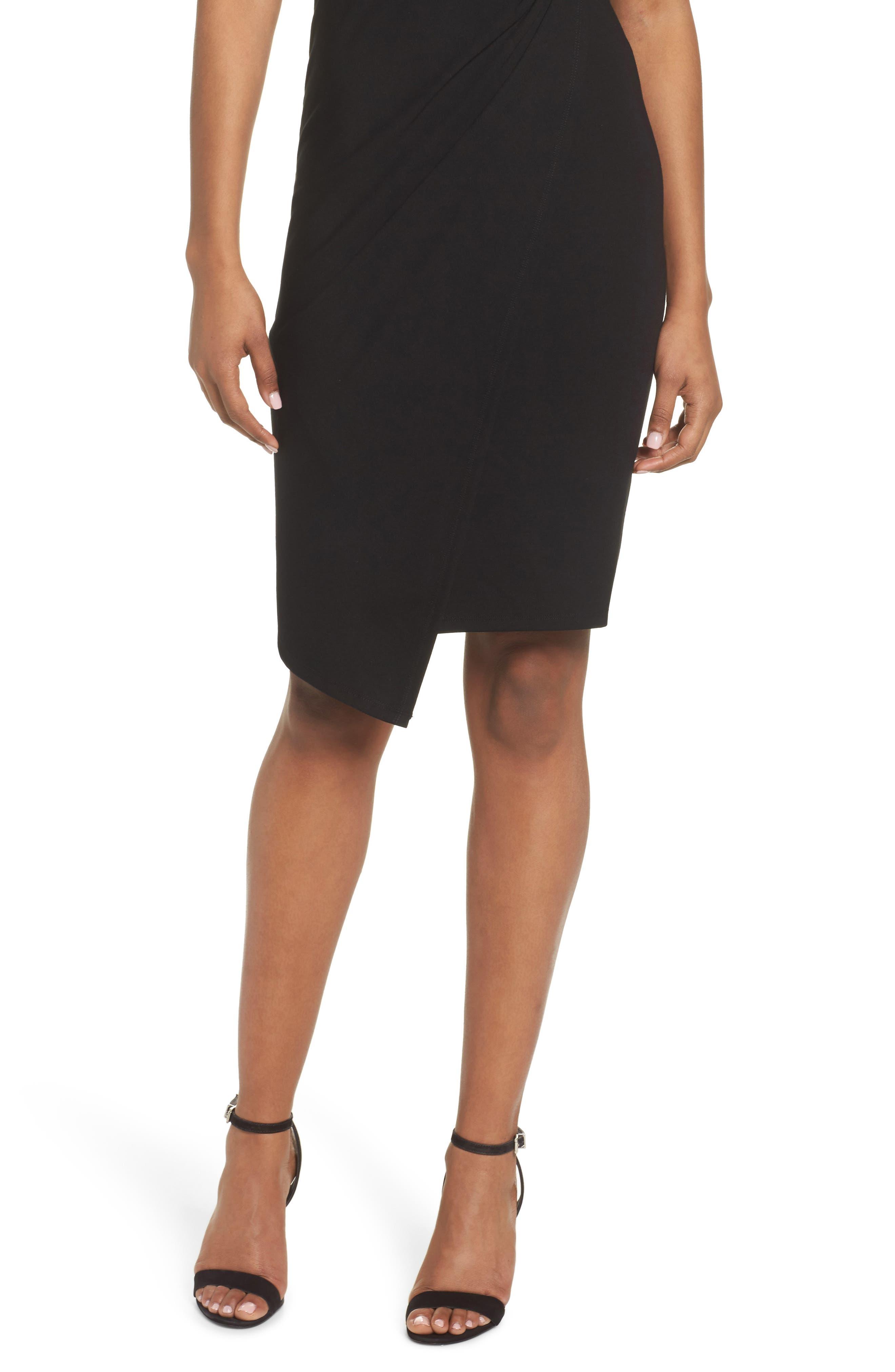 Asymmetric Hem Sheath Dress,                             Alternate thumbnail 4, color,                             001