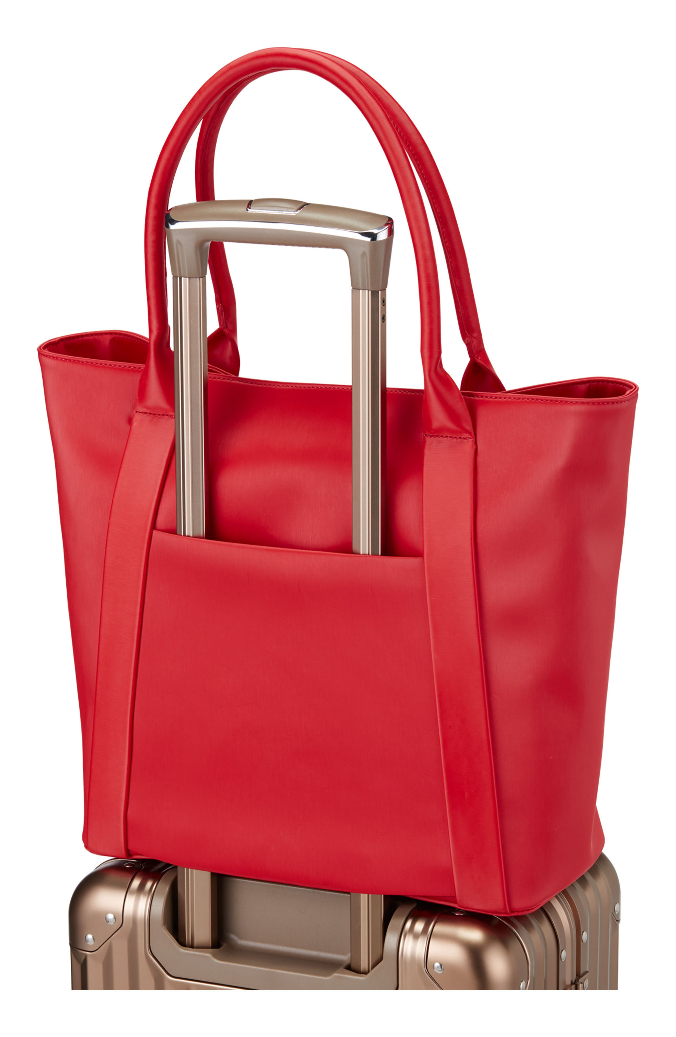 Signature 2.0 Large Faux Leather Tote Bag,                             Alternate thumbnail 4, color,                             PEBBLED RED