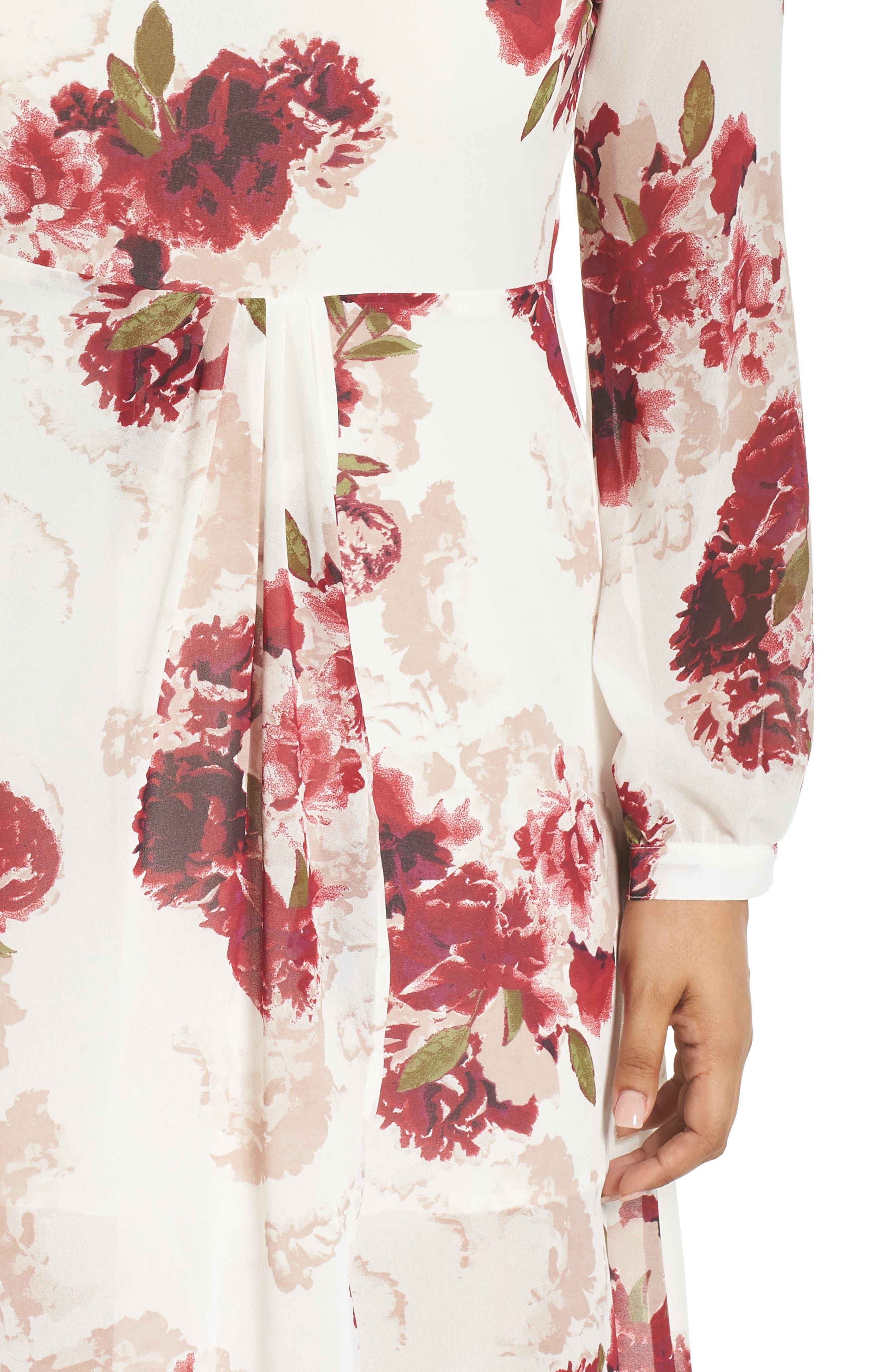 Floral Drape Dress,                             Alternate thumbnail 4, color,                             900