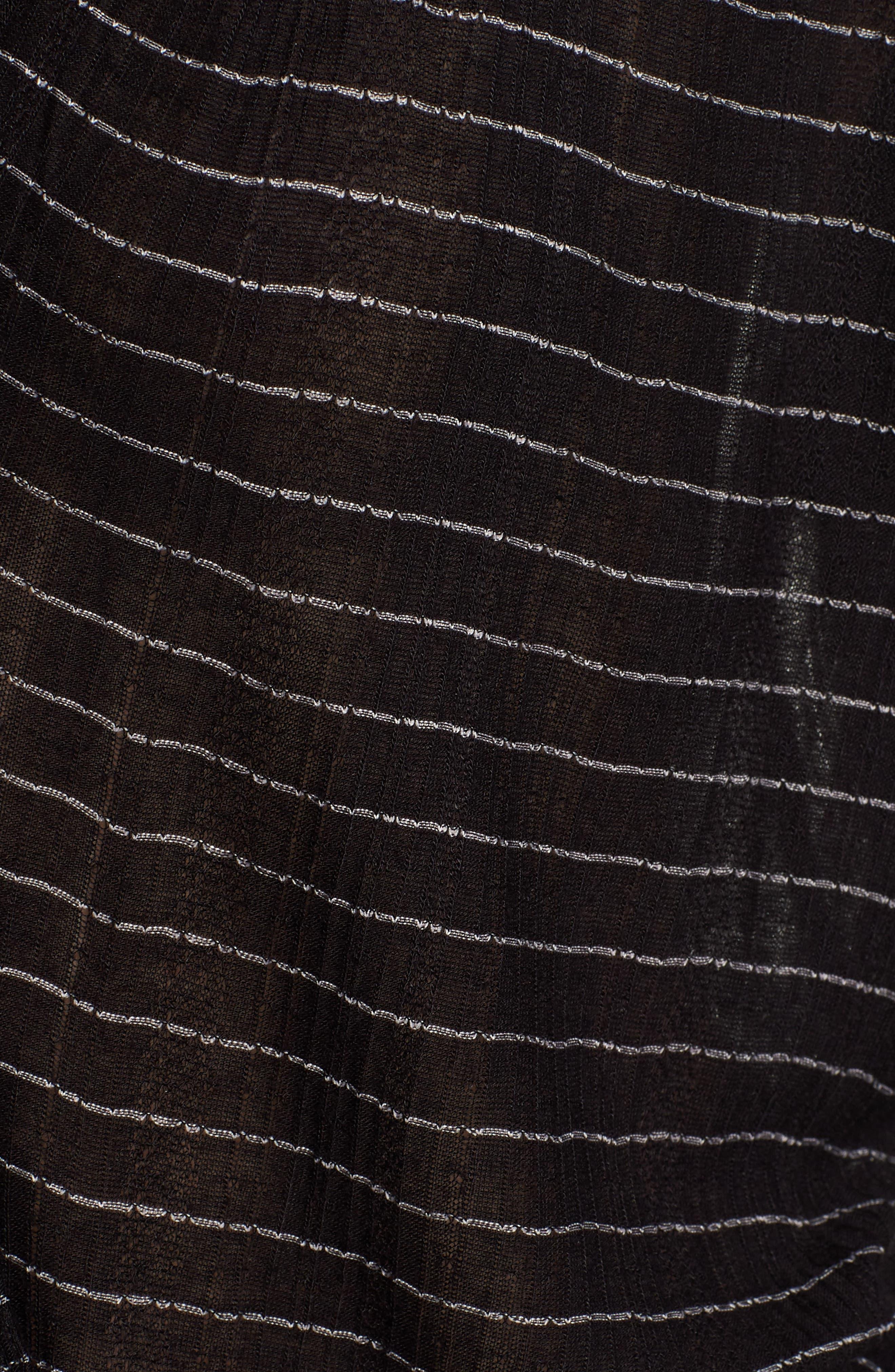 Tie Neck Stripe Top,                             Alternate thumbnail 5, color,                             BLACK STRIPE