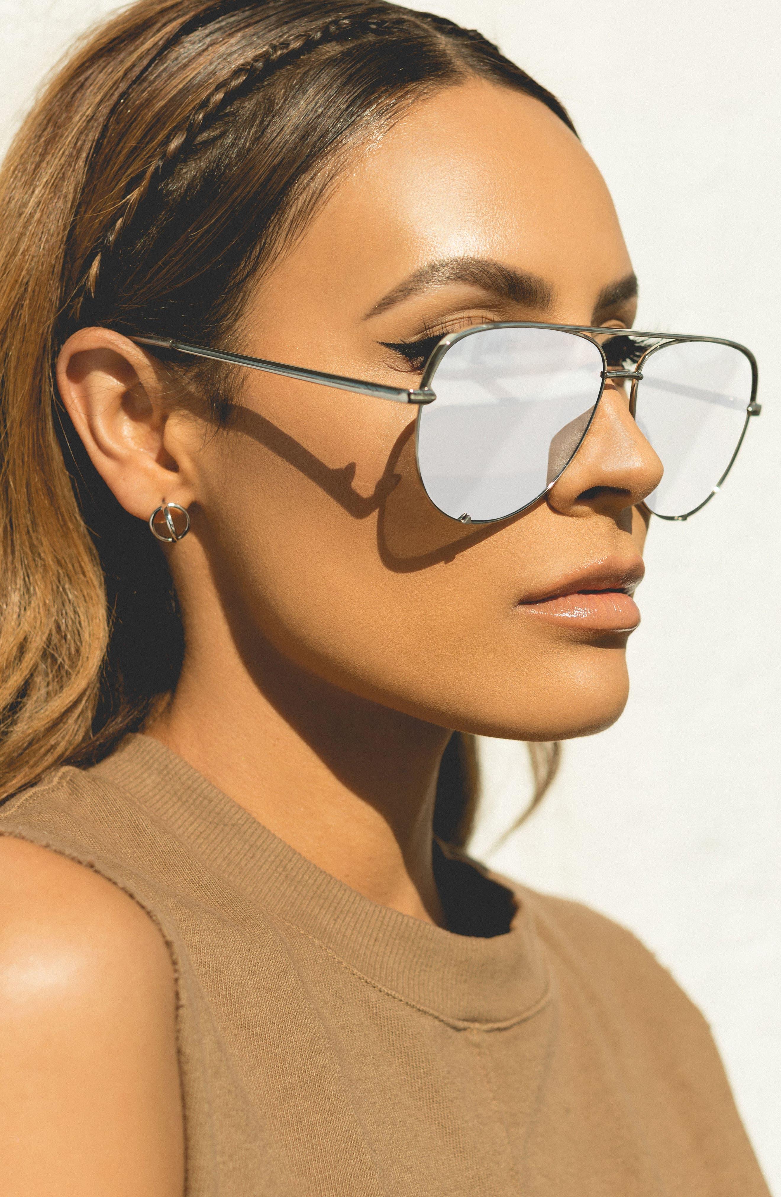x Desi Perkins High Key 62mm Aviator Sunglasses,                             Alternate thumbnail 3, color,                             SILVER/ SILVER