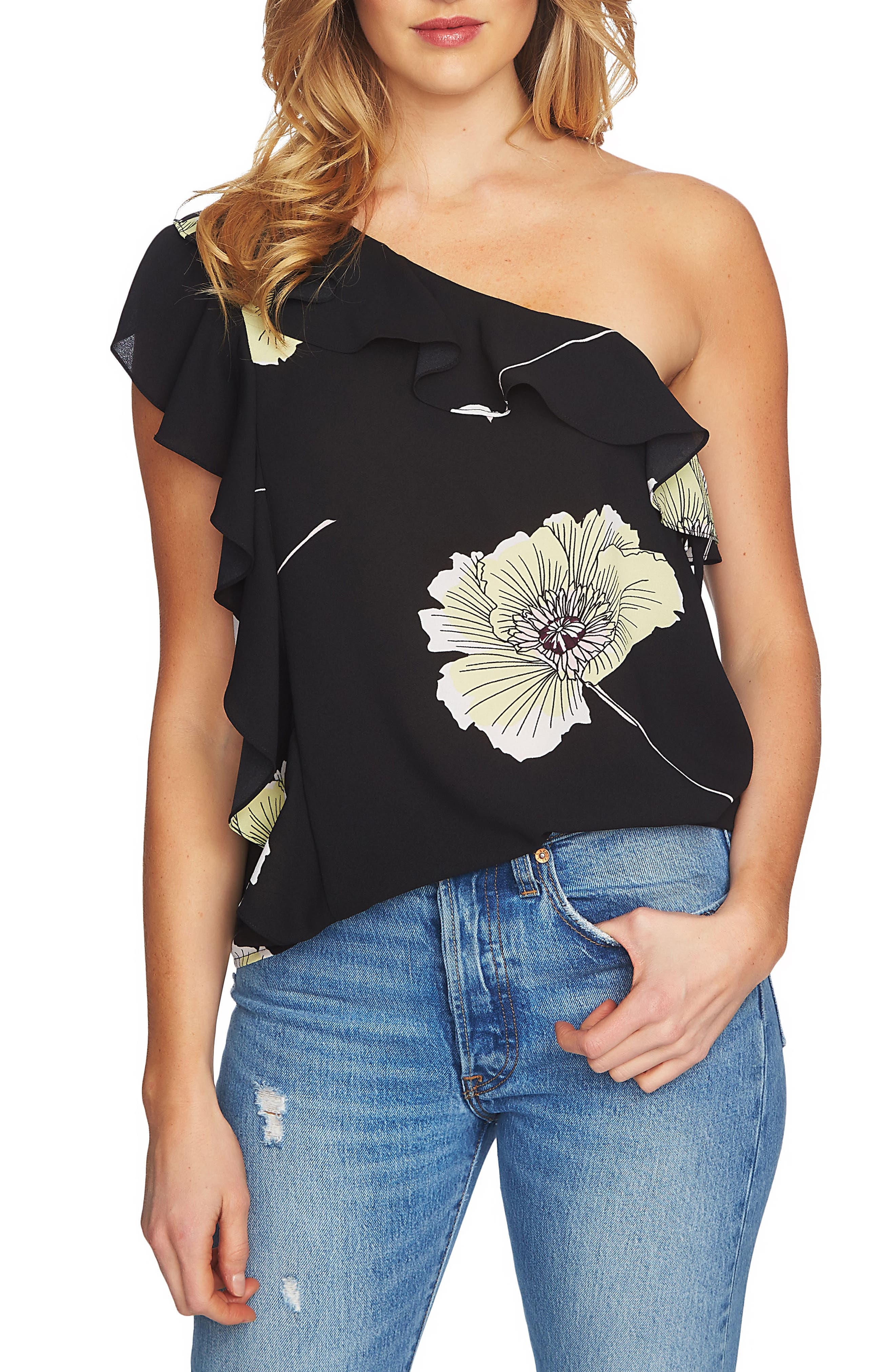 1.STATE,                             Ruffle One-Shoulder Blouse,                             Main thumbnail 1, color,                             001