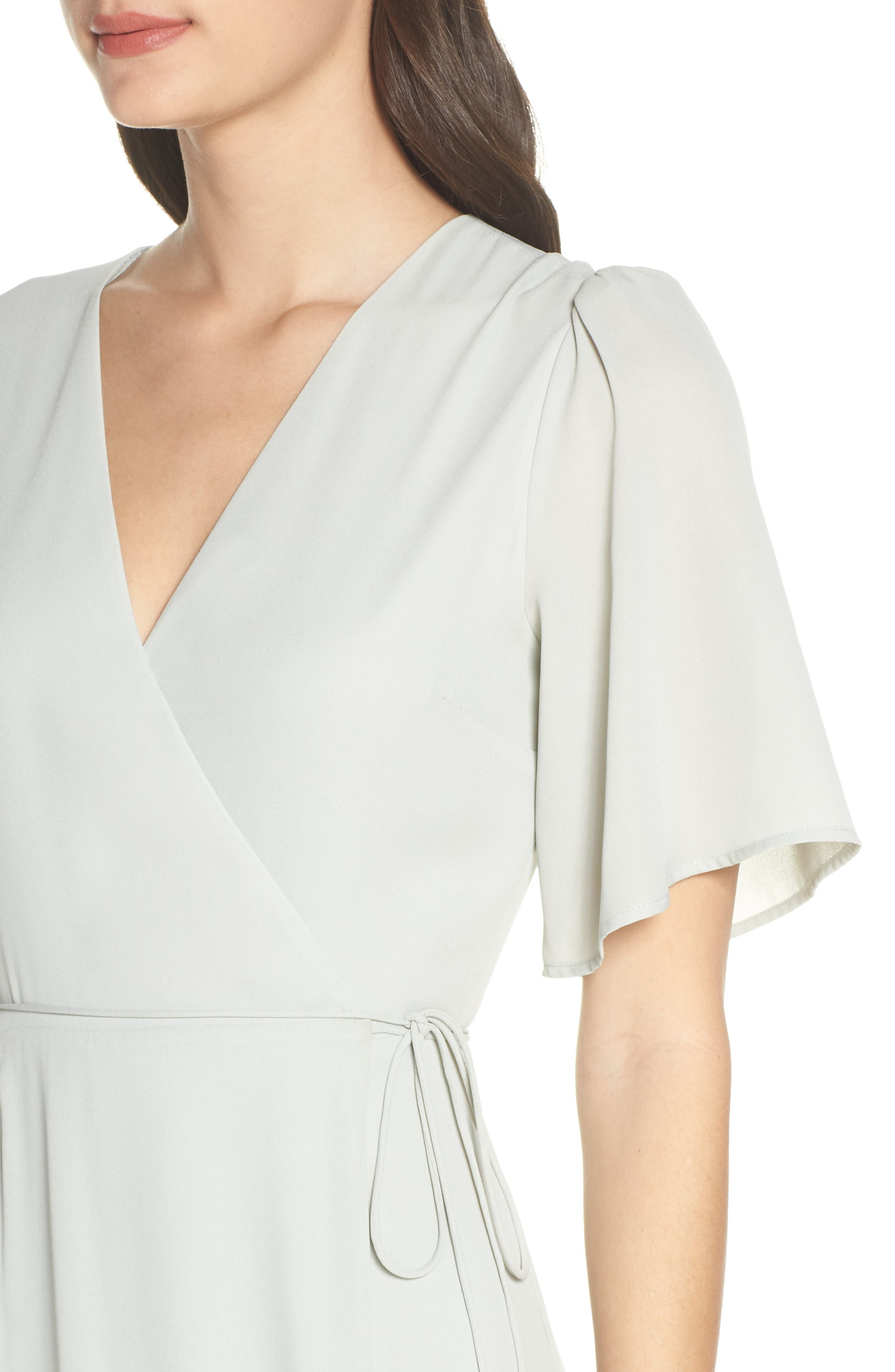 WAYF,                             The Aurelia Short Sleeve Wrap Evening Dress,                             Alternate thumbnail 4, color,                             SAGE