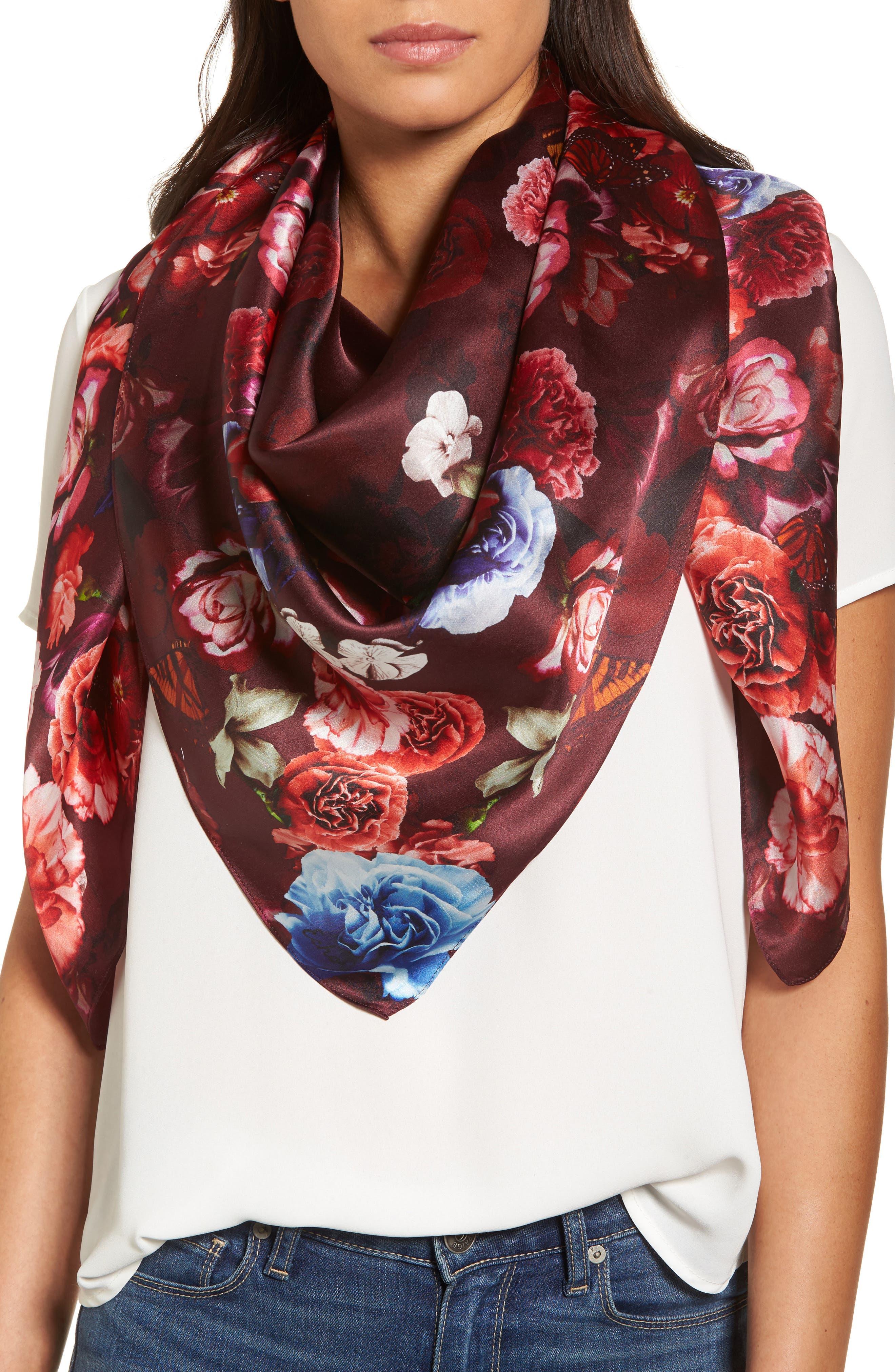 Floral Gem Square Silk Scarf,                             Alternate thumbnail 5, color,                             001