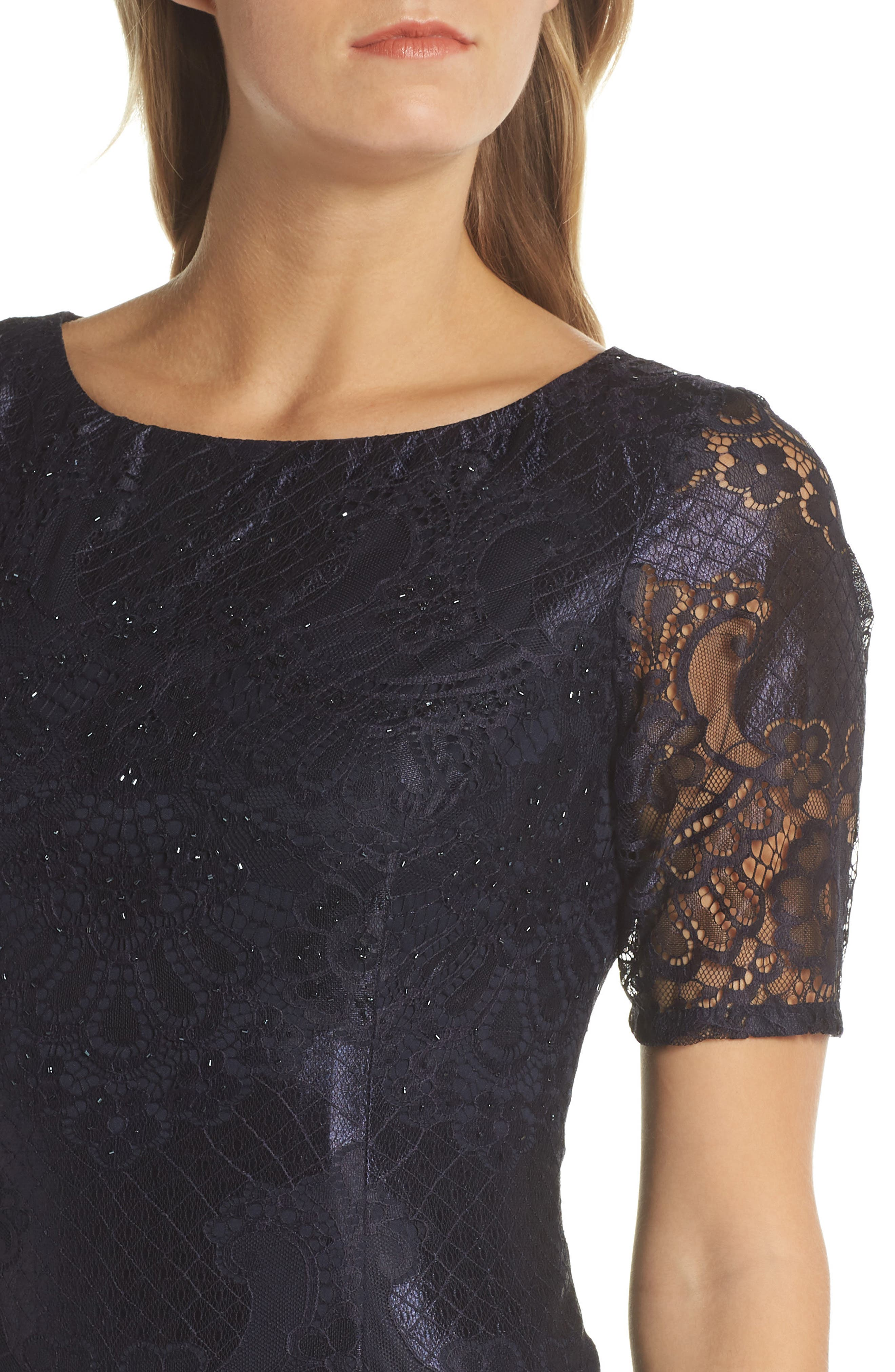 Lace Sheath Dress,                             Alternate thumbnail 4, color,                             410
