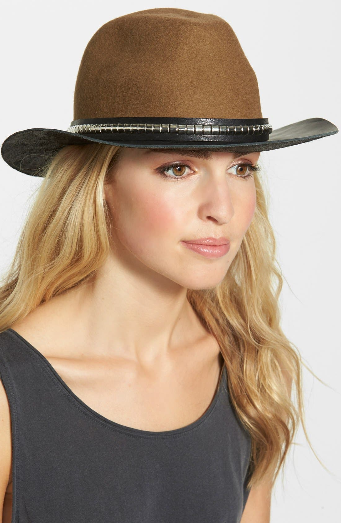 Wool & Leather Western Hat,                             Main thumbnail 1, color,                             250