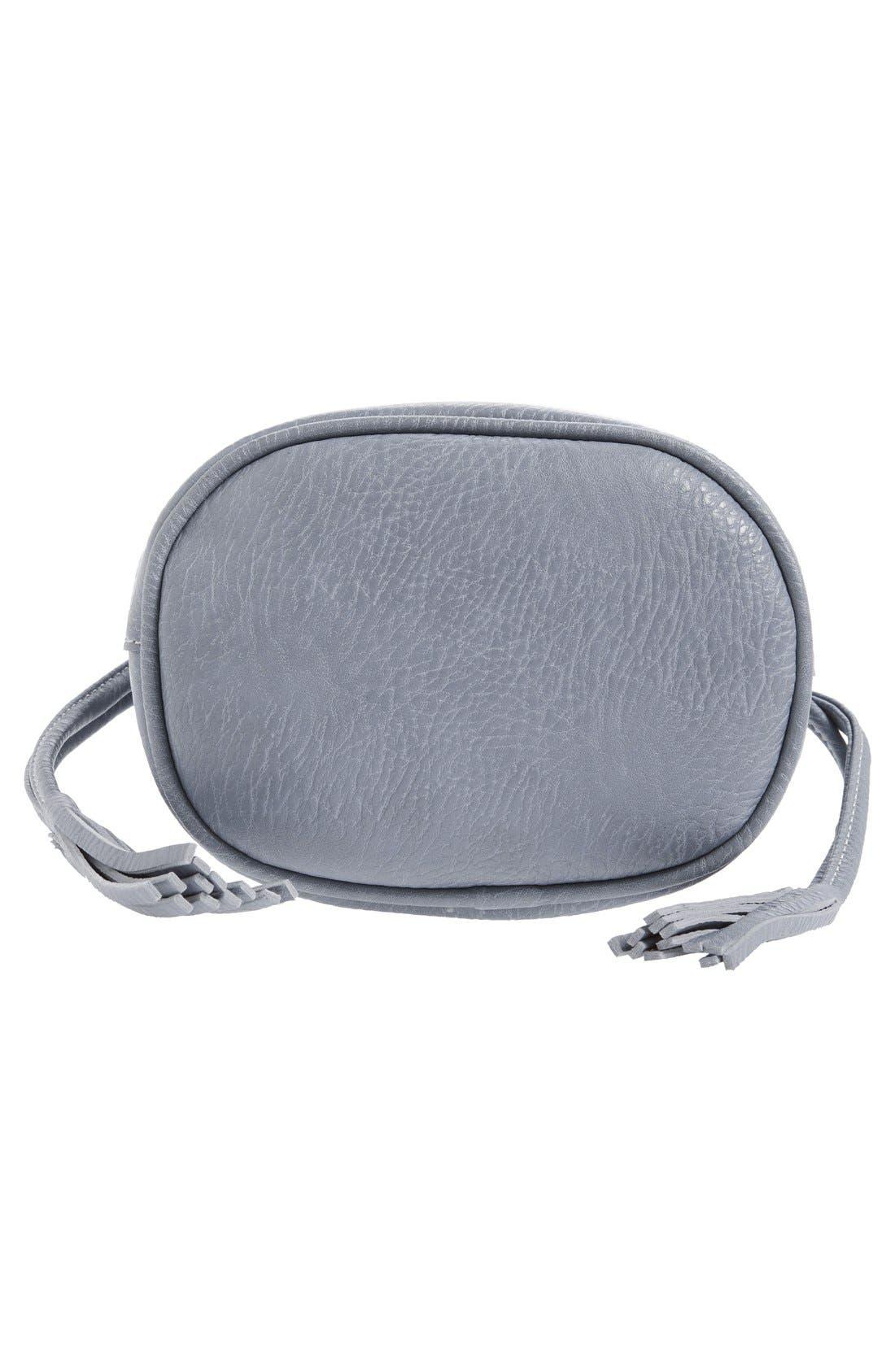 Mini Faux Leather Tassel Bucket Bag,                             Alternate thumbnail 15, color,