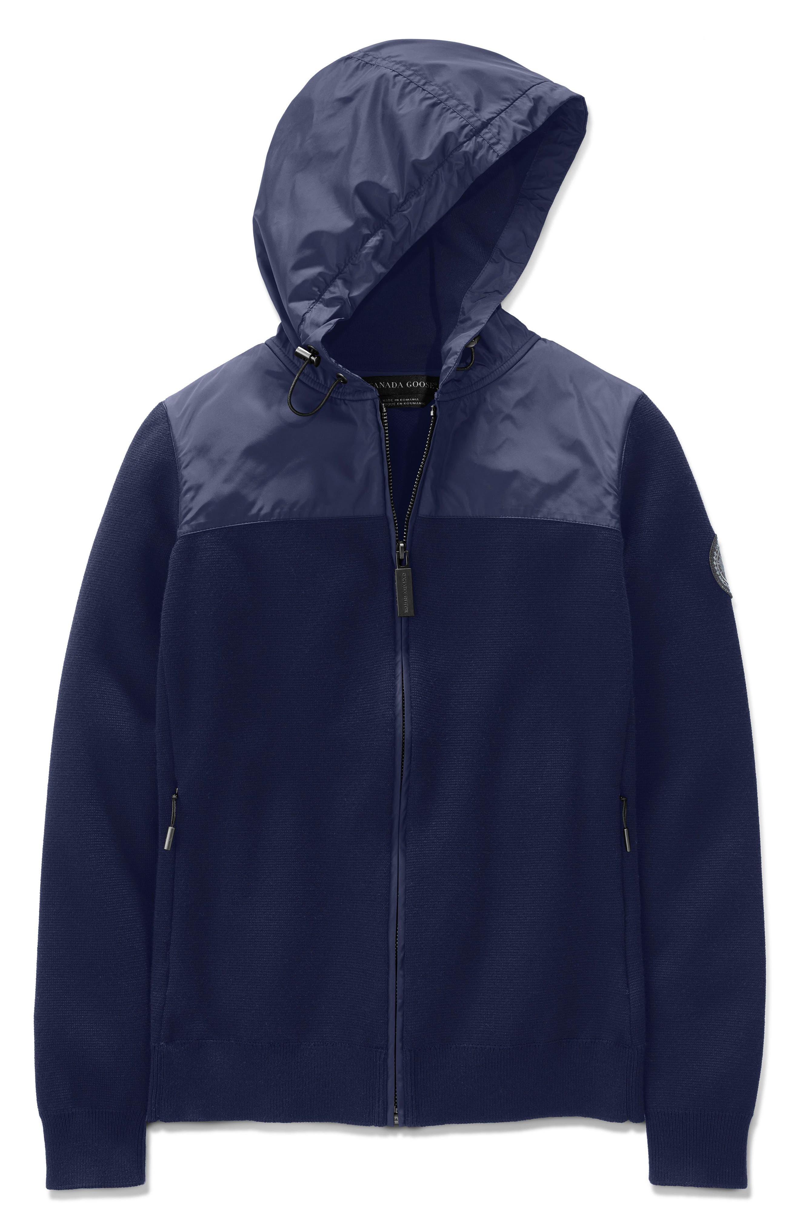 Windbridge Wool & Nylon Hoodie Jacket in Navy