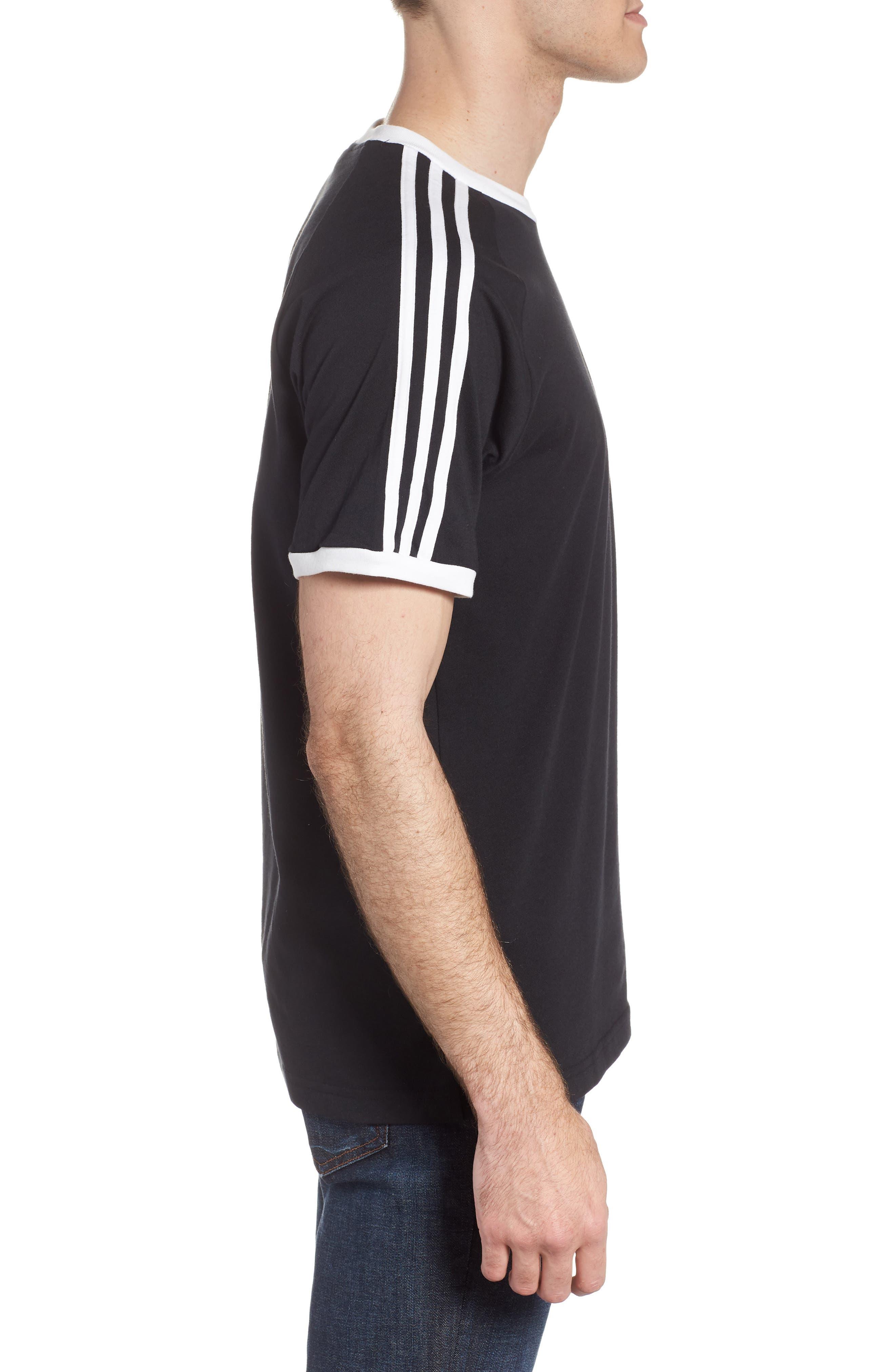 3-Stripes T-Shirt,                             Alternate thumbnail 3, color,                             BLACK