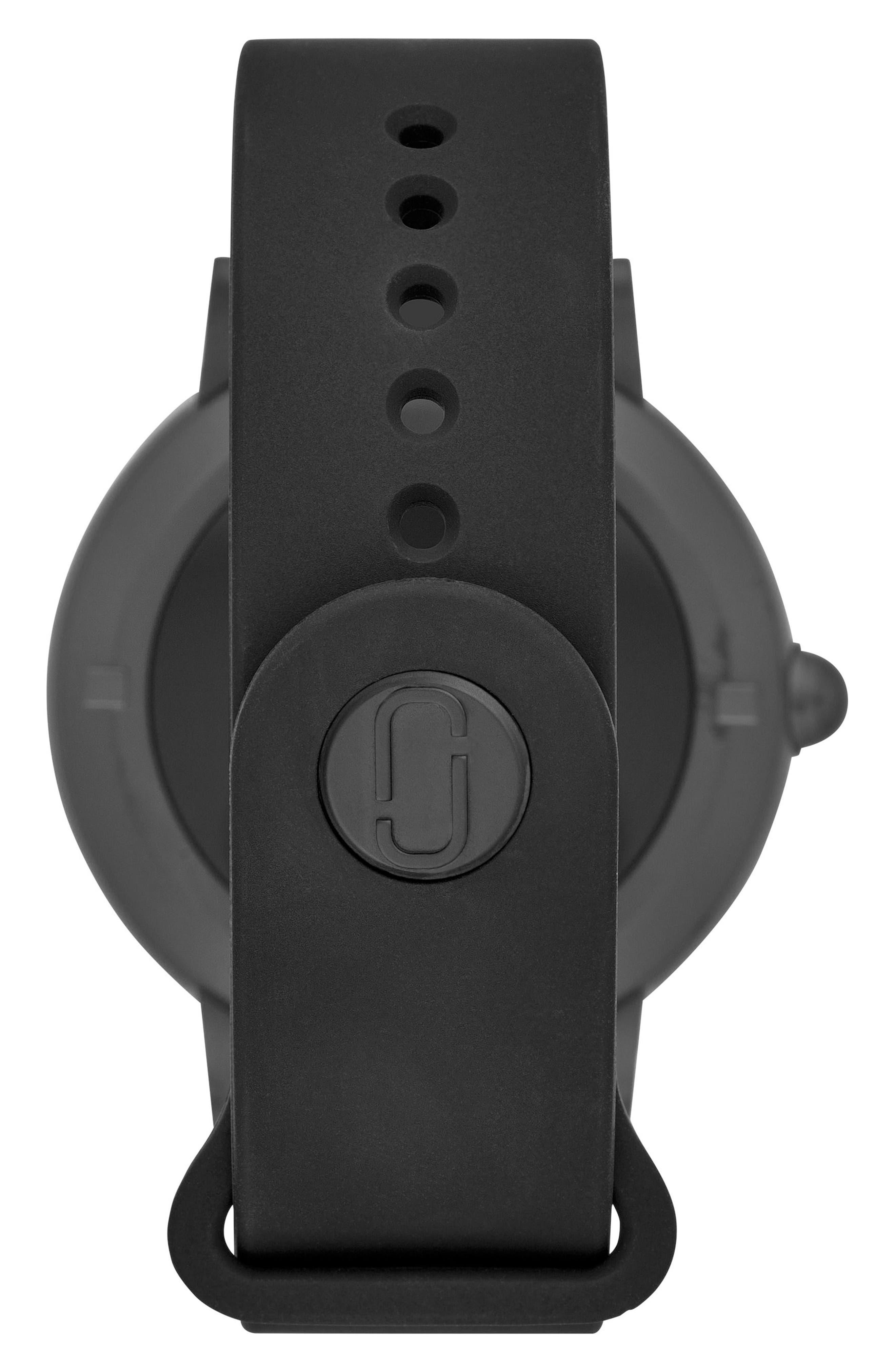 Riley Silcone Strap Smart Watch, 44mm,                             Alternate thumbnail 2, color,                             BLACK/ WHITE/ BLACK