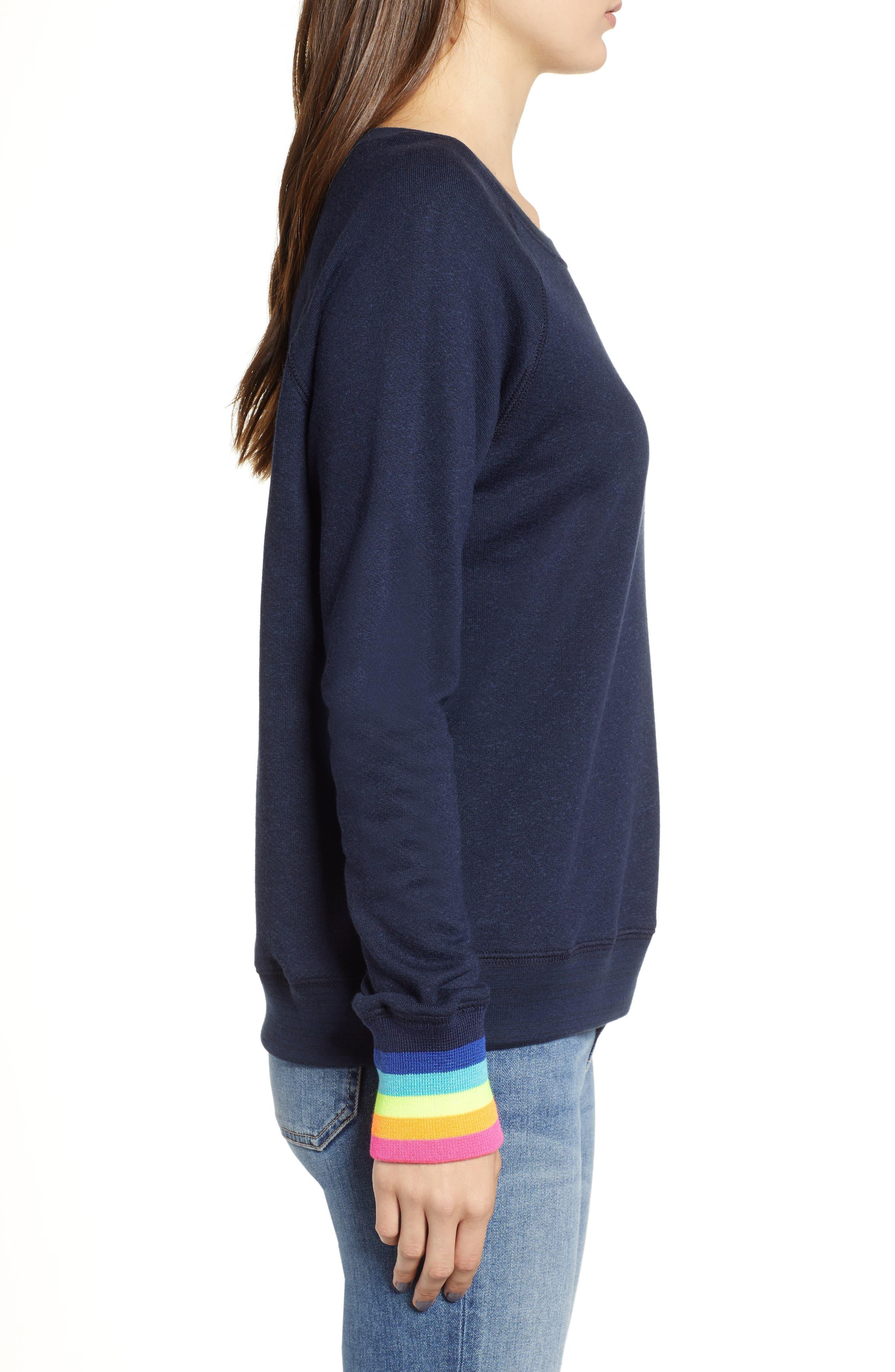Midnight Stripe Cuff Cotton Blend Sweatshirt,                             Alternate thumbnail 3, color,                             415