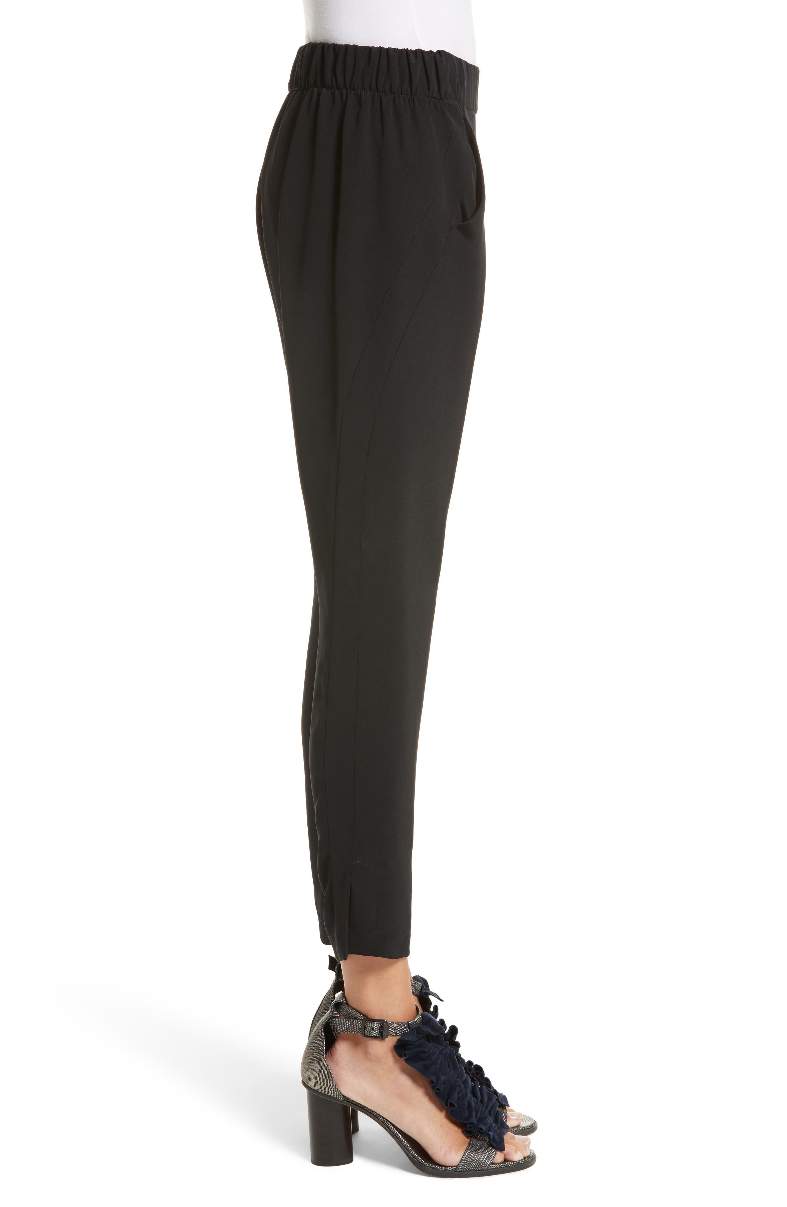 Elli Slim Leg Pants,                             Alternate thumbnail 3, color,                             BLACK
