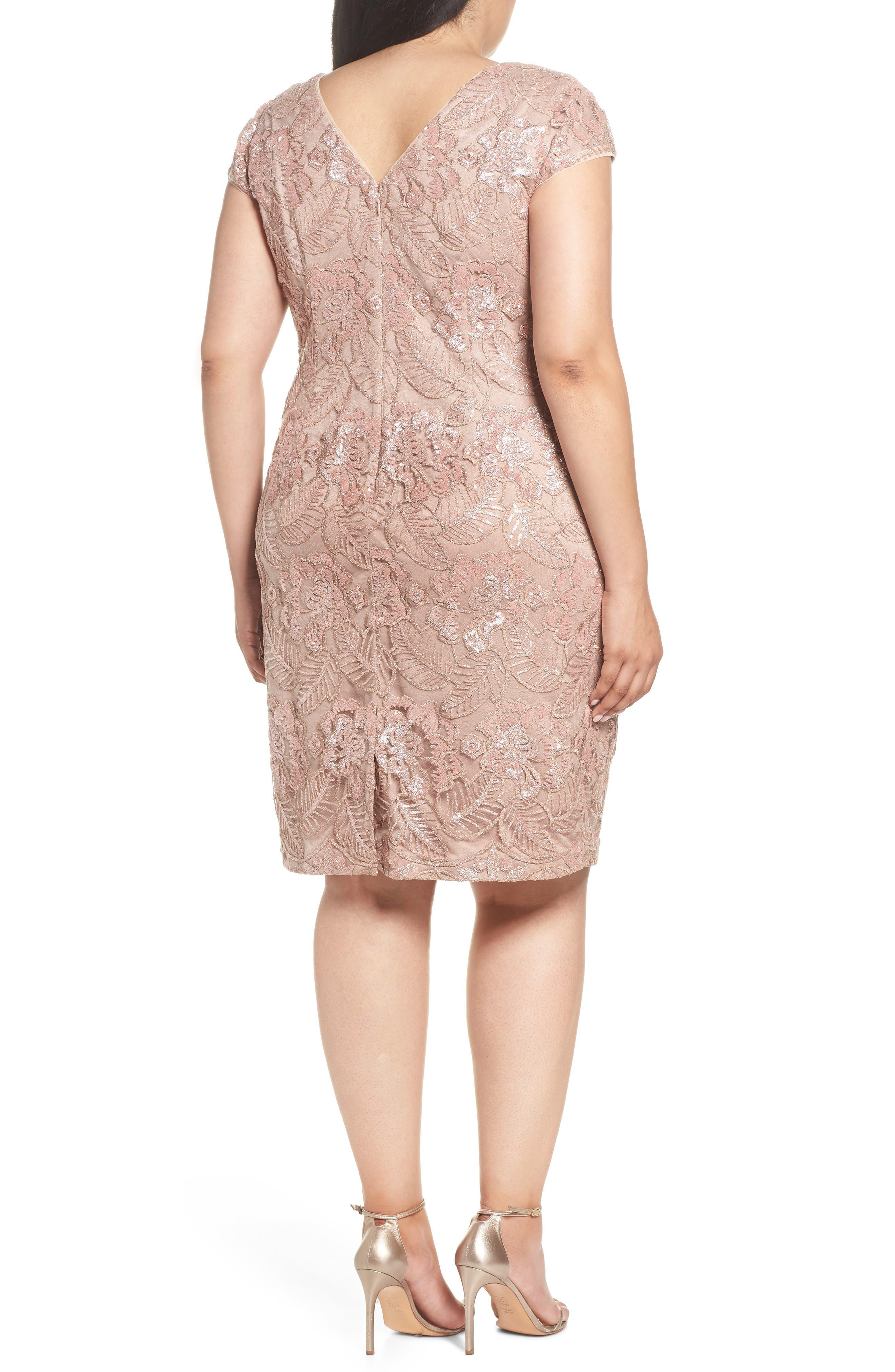 Sequin Lace Cocktail Dress,                             Alternate thumbnail 2, color,                             ROSE GOLD