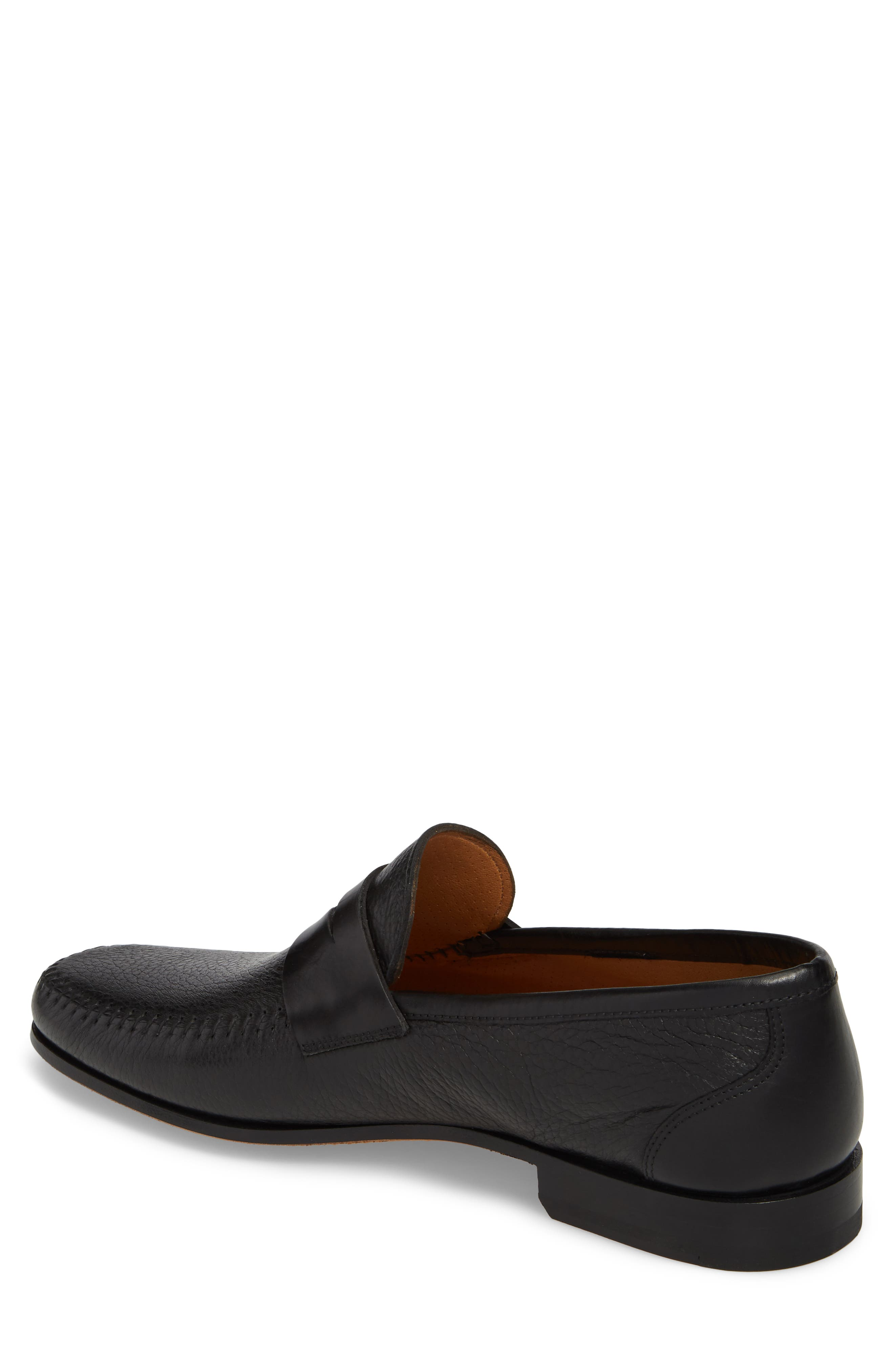 MAGNANNI,                             Ramos Moc Toe Penny Loafer,                             Alternate thumbnail 2, color,                             BLACK/BLACK LEATHER