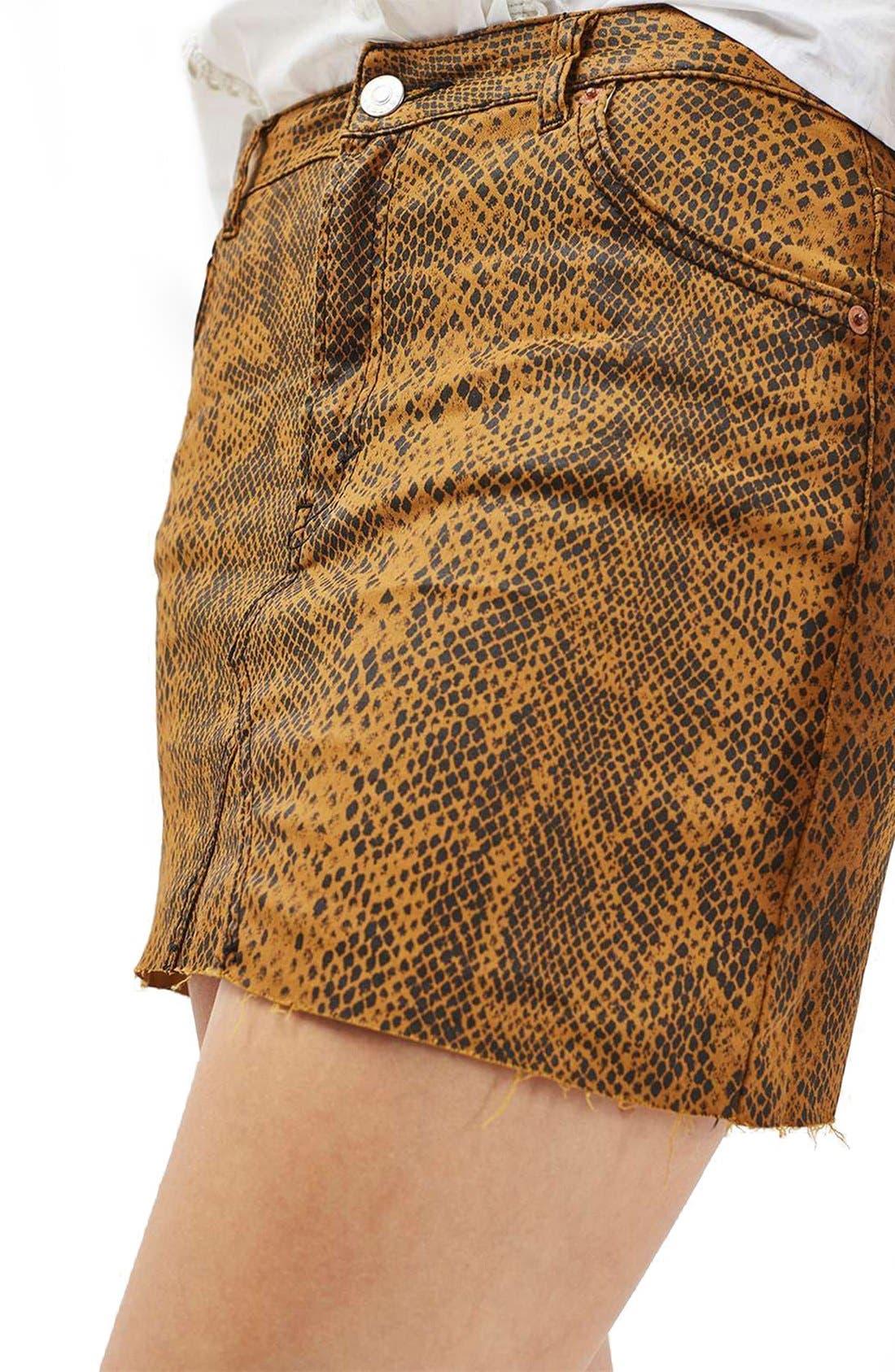 Snake Print Miniskirt,                             Alternate thumbnail 2, color,                             200