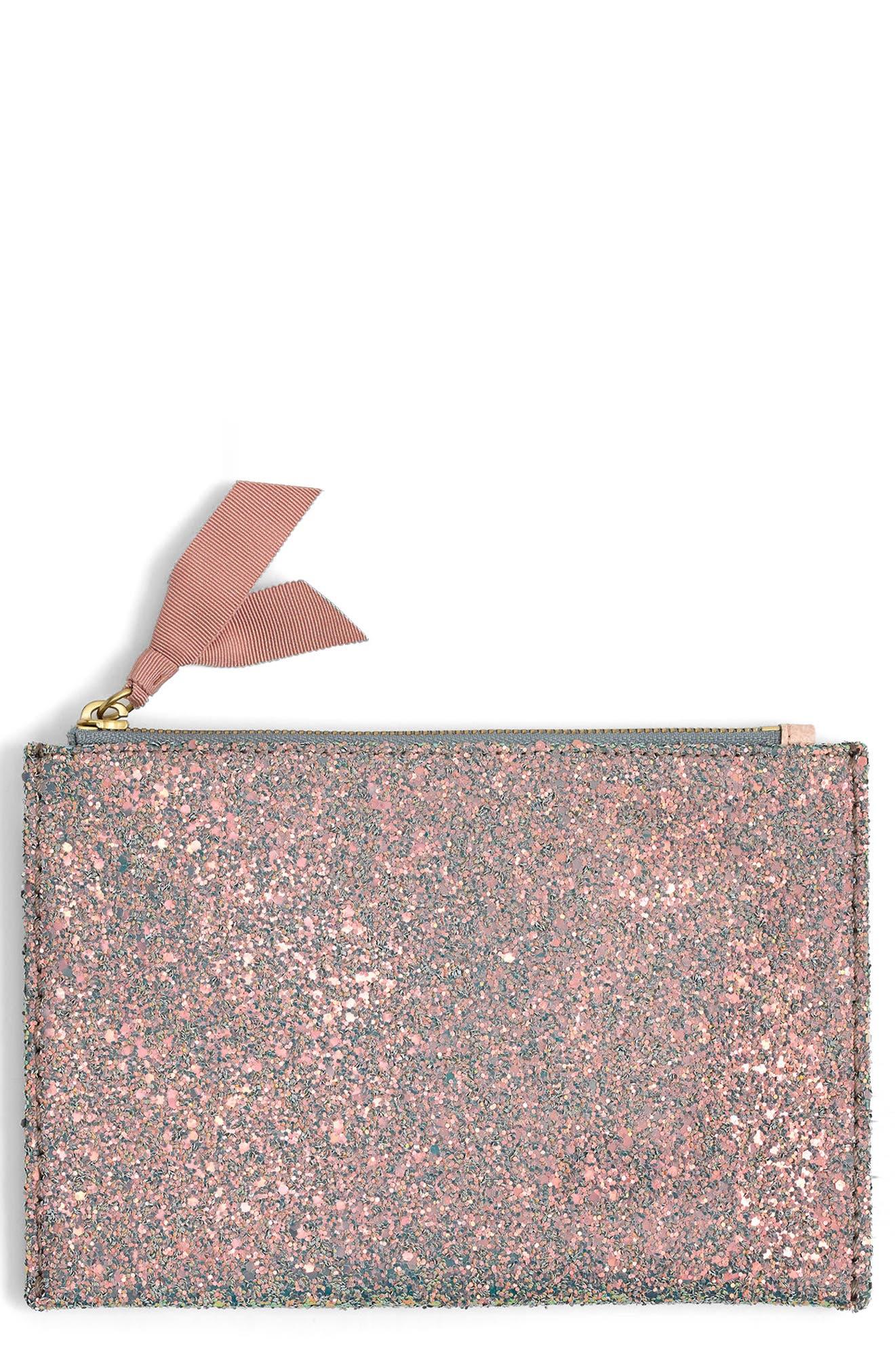Medium Glitter Pouch,                             Main thumbnail 1, color,                             900