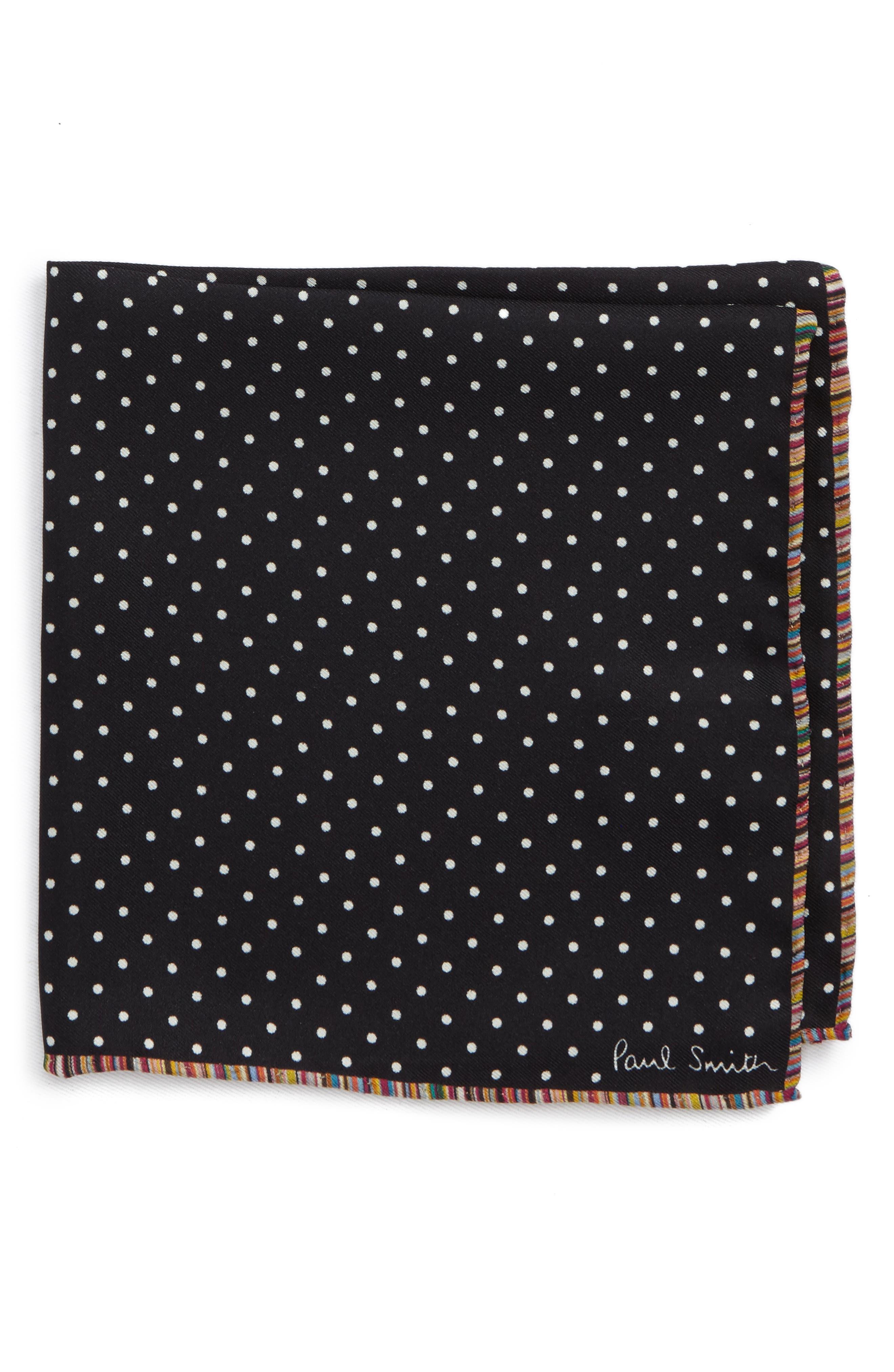 Multistripe Edge Dot Silk Pocket Square,                             Main thumbnail 1, color,                             001