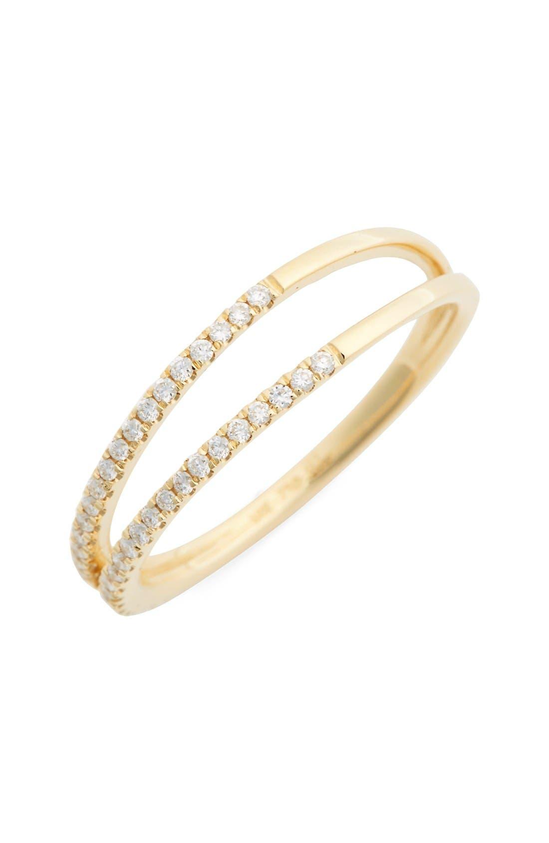 Diamond Two Row Ring,                             Main thumbnail 1, color,